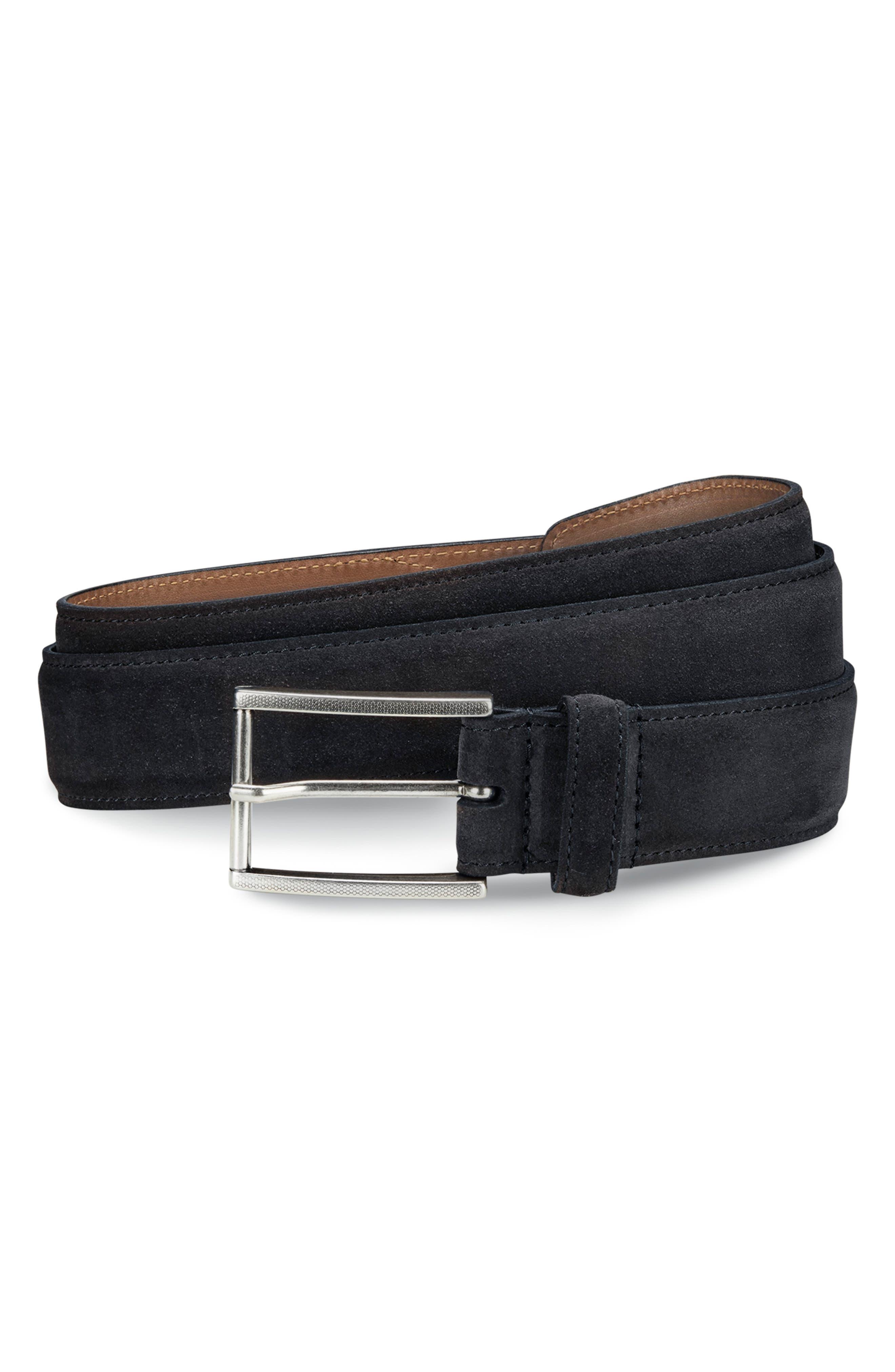 ALLEN EDMONDS, Suede Avenue Leather Belt, Main thumbnail 1, color, BLACK SUEDE