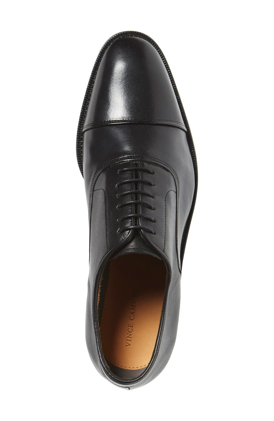 VINCE CAMUTO, 'Eeric' Cap Toe Oxford, Alternate thumbnail 3, color, BLACK LEATHER