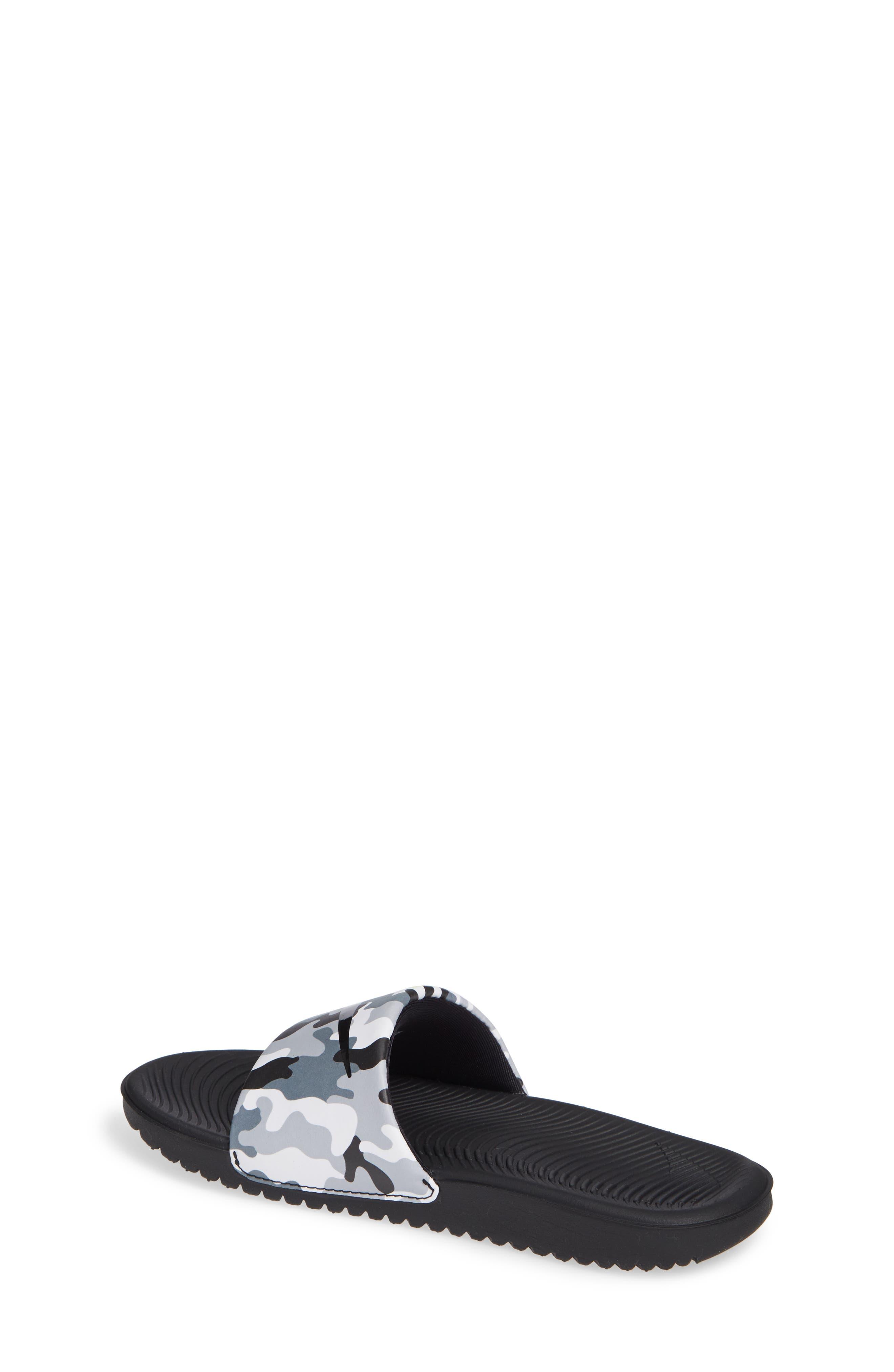 NIKE, Kawa Slide Sandal, Alternate thumbnail 2, color, WOLF GREY/ BLACK/ WHITE