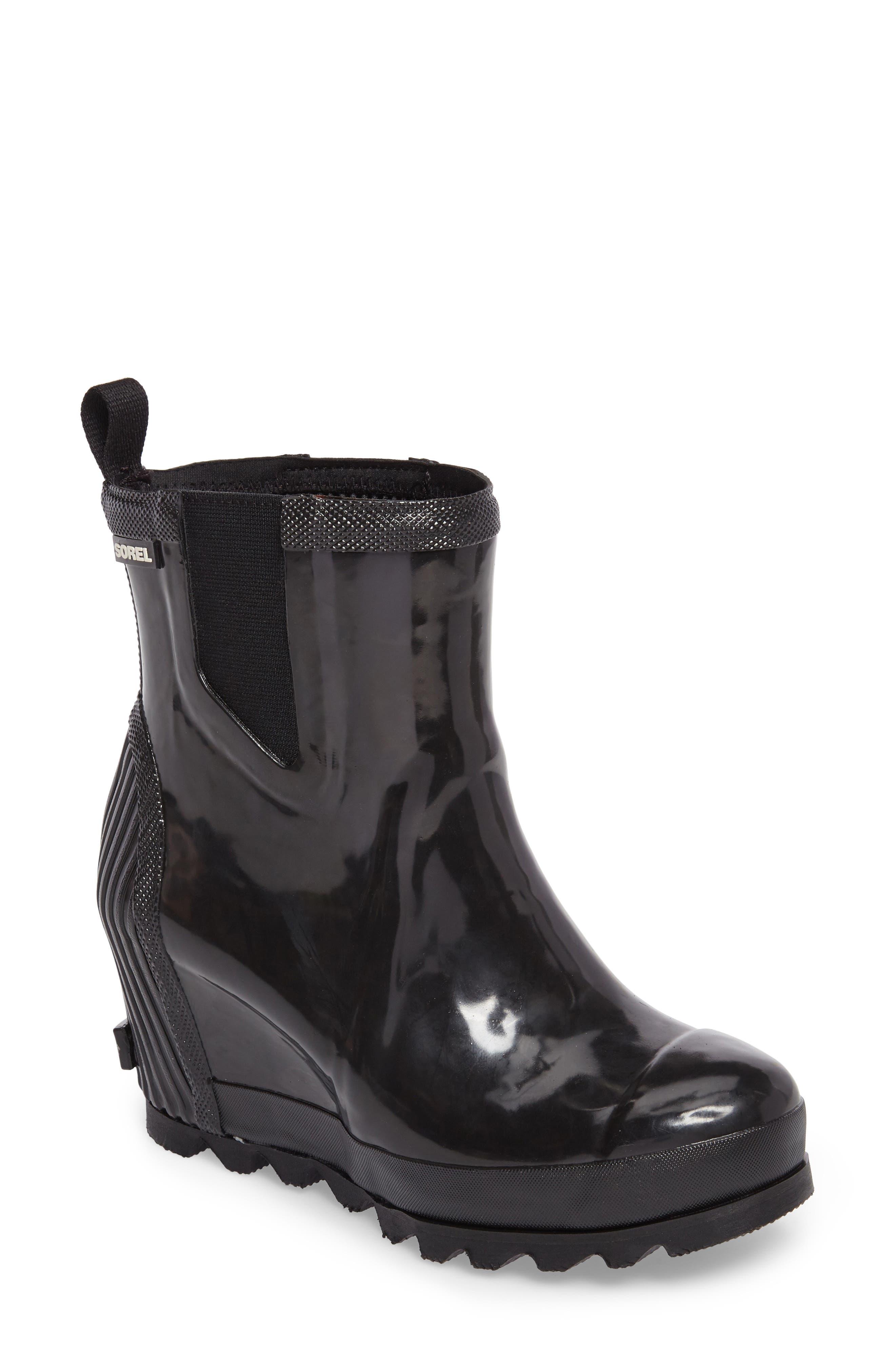 SOREL, Joan Glossy Wedge Waterproof Rain Boot, Main thumbnail 1, color, BLACK/ SEA SALT