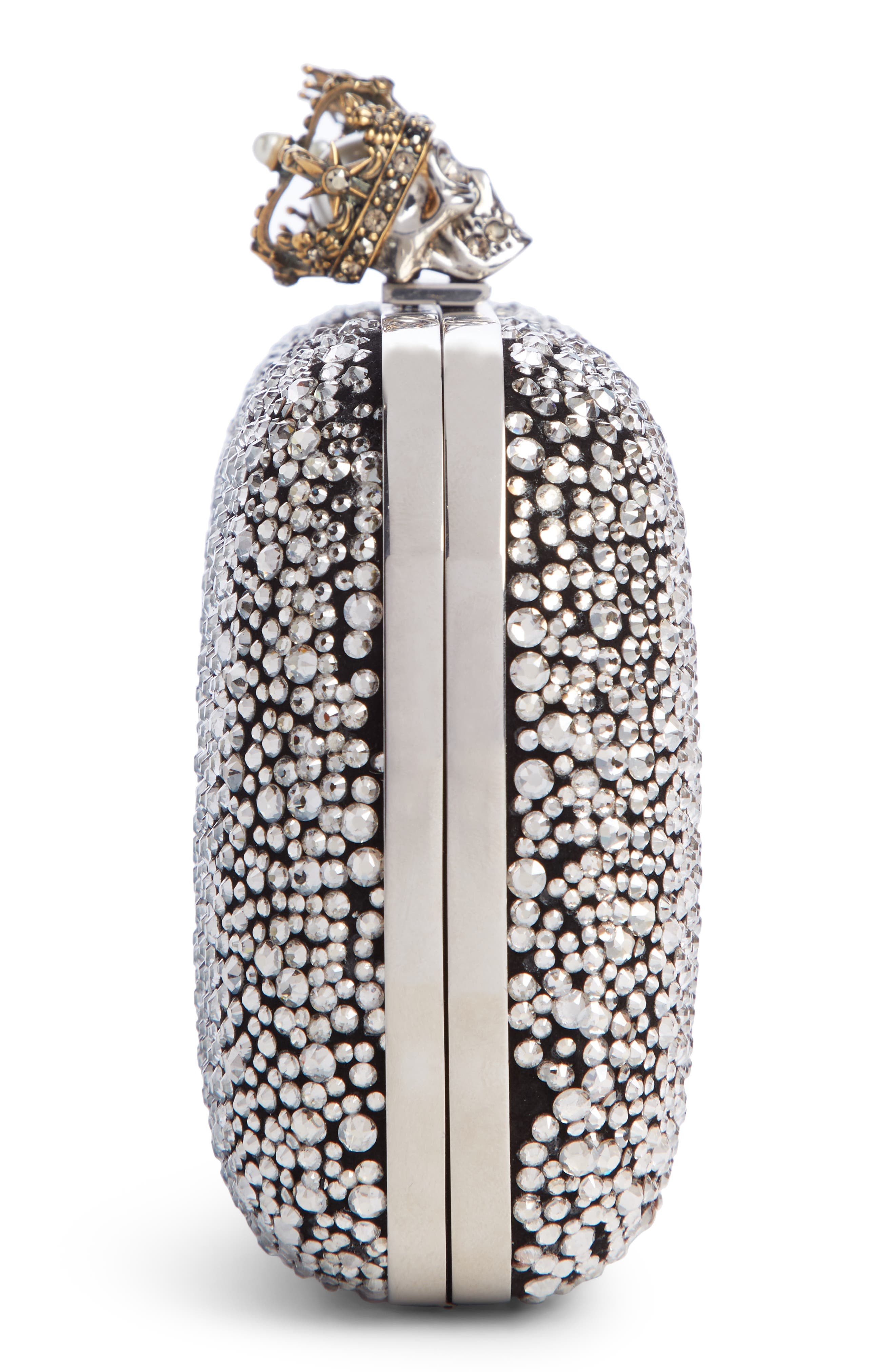 ALEXANDER MCQUEEN, Crystal Embellished Queen & King Clutch, Alternate thumbnail 4, color, BLACK