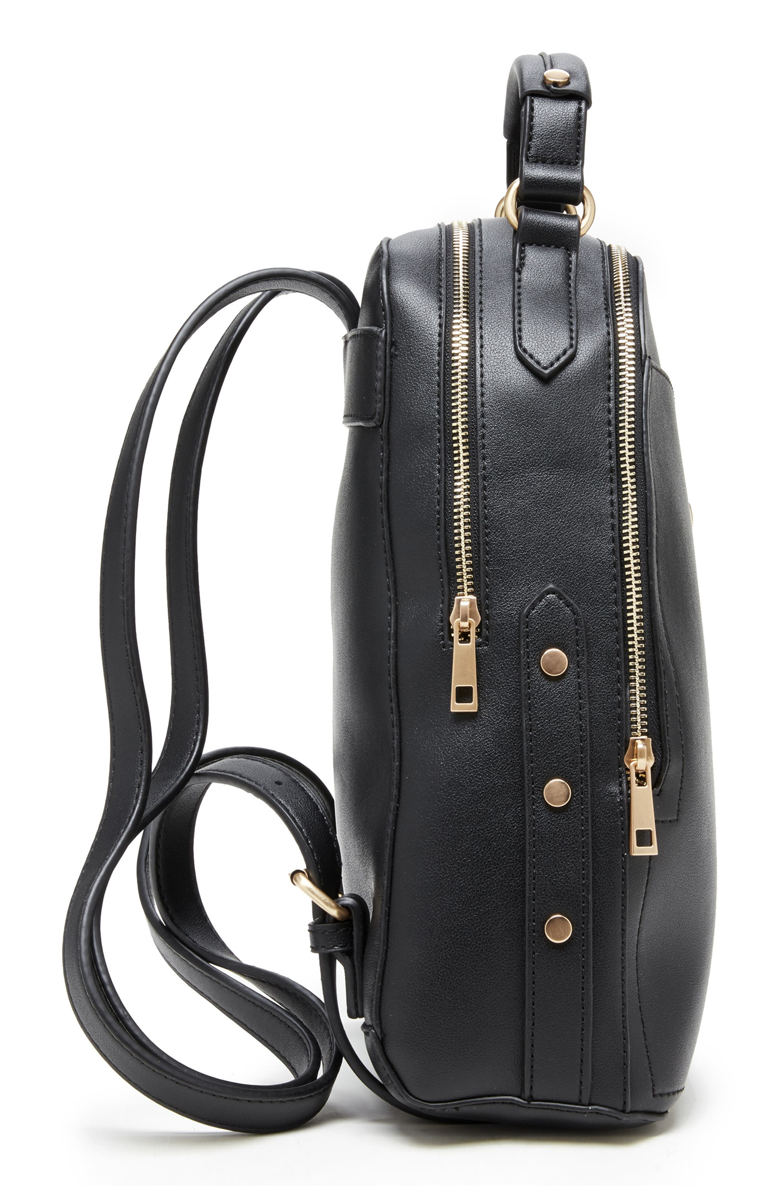 SOLE SOCIETY, Hingi Faux Leather Backpack, Alternate thumbnail 4, color, 001