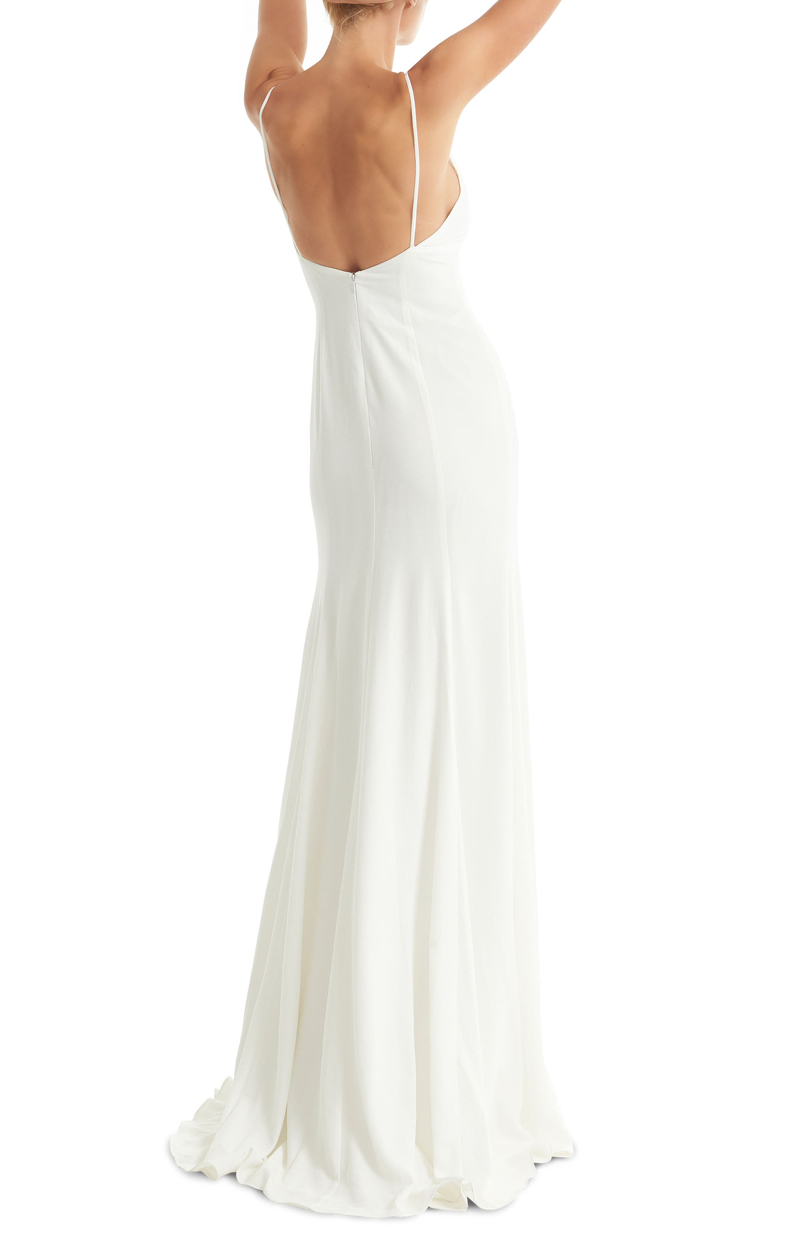 JOANNA AUGUST, Crosby Crepe Mermaid Gown, Alternate thumbnail 2, color, WHITE