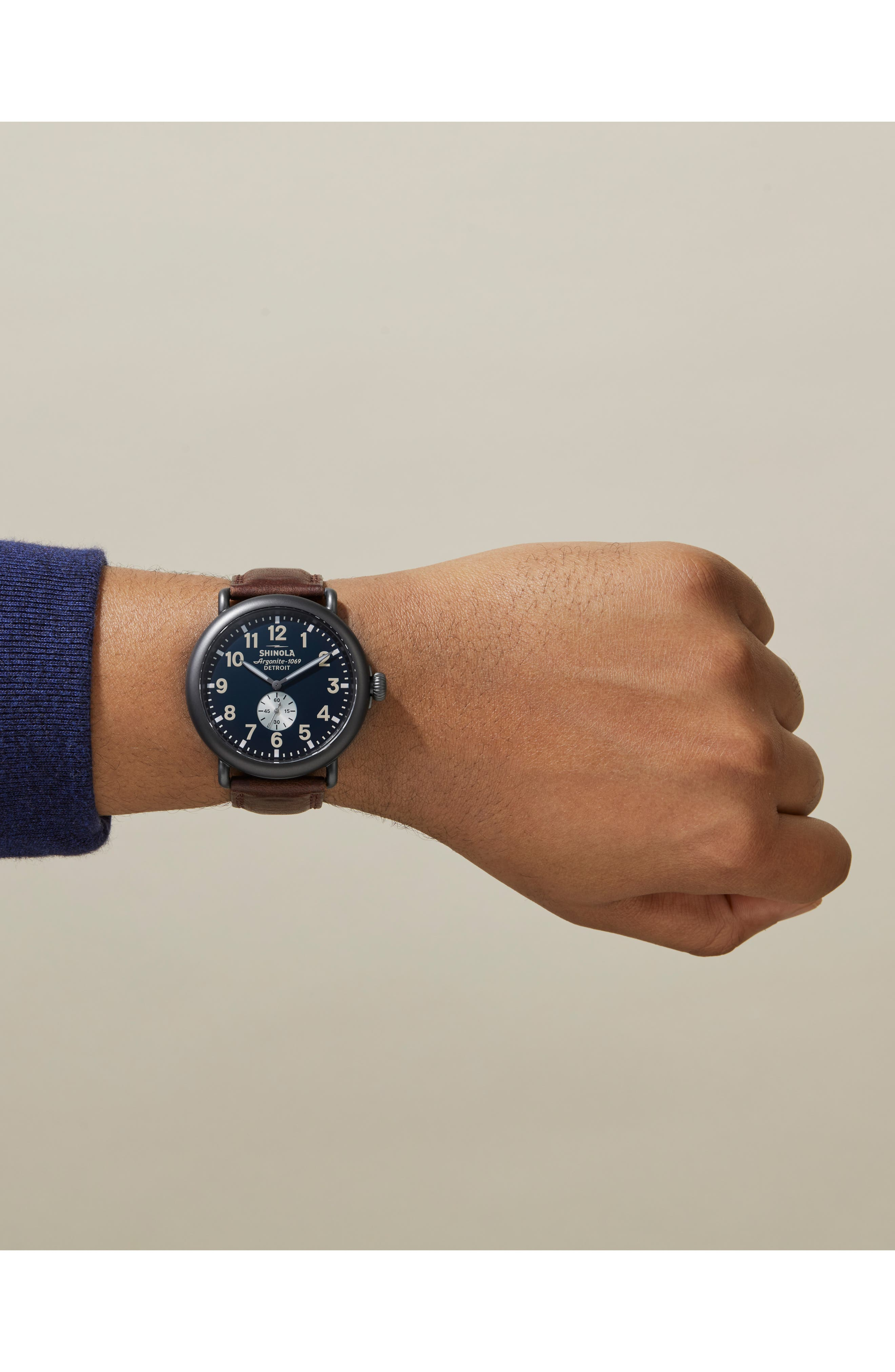 SHINOLA, 'The Runwell' Leather Strap Watch, 47mm, Alternate thumbnail 6, color, CATTAIL/ MIDNIGHT/ GUNMETAL
