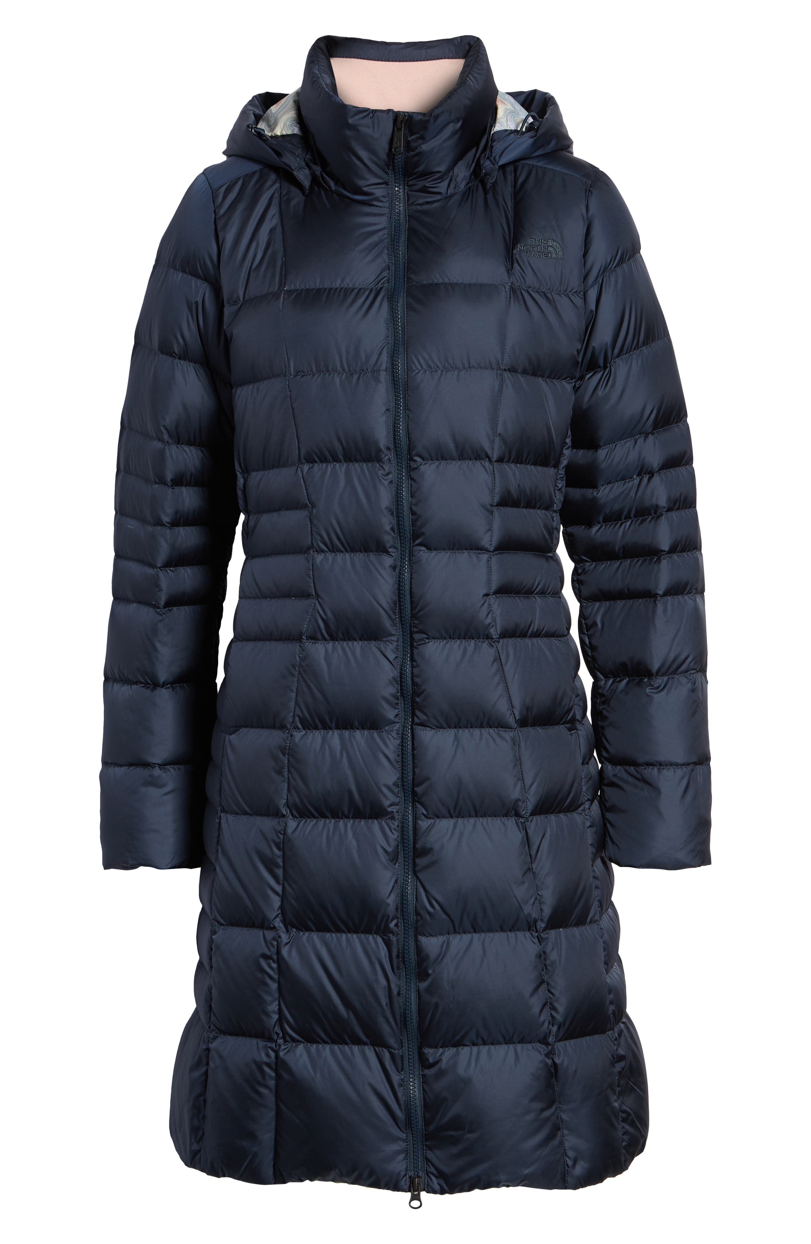 THE NORTH FACE, Metropolis II Hooded Water Resistant Down Parka, Alternate thumbnail 6, color, URBAN NAVY/ MULTI TOPO PRINT