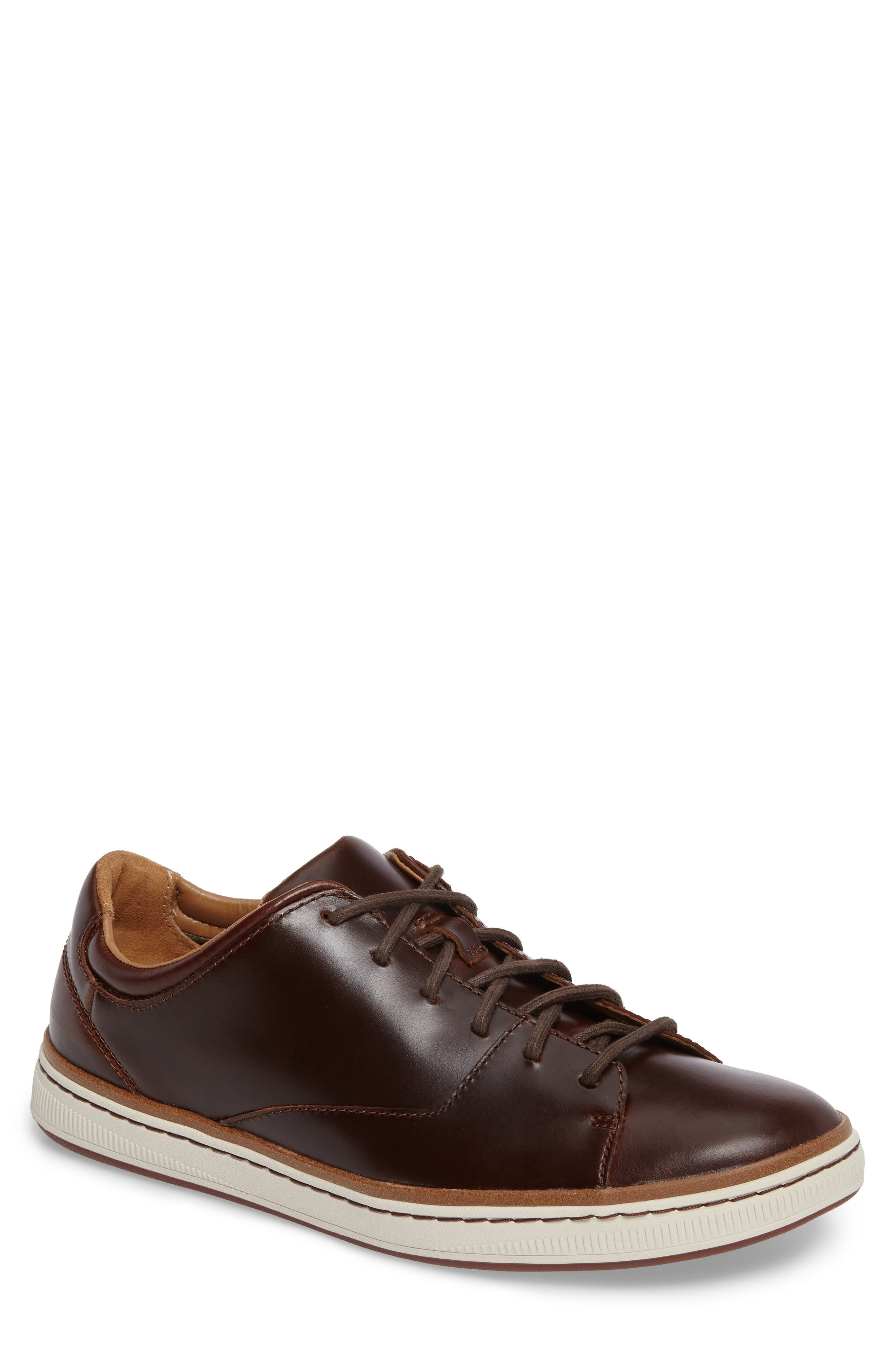 CLARKS<SUP>®</SUP>, Norsen Lace Sneaker, Main thumbnail 1, color, DARK TAN LEATHER