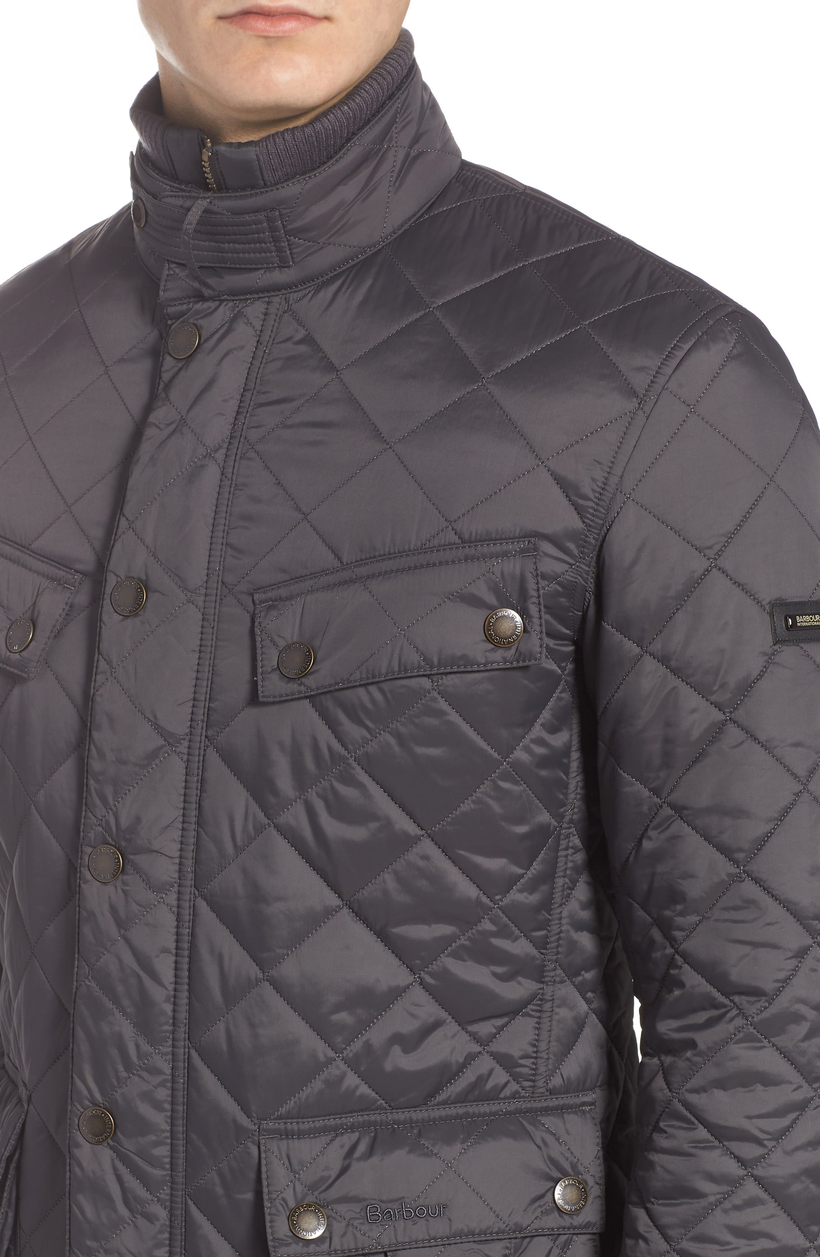 BARBOUR, International Windshield Quilted Jacket, Alternate thumbnail 5, color, CHARCOAL