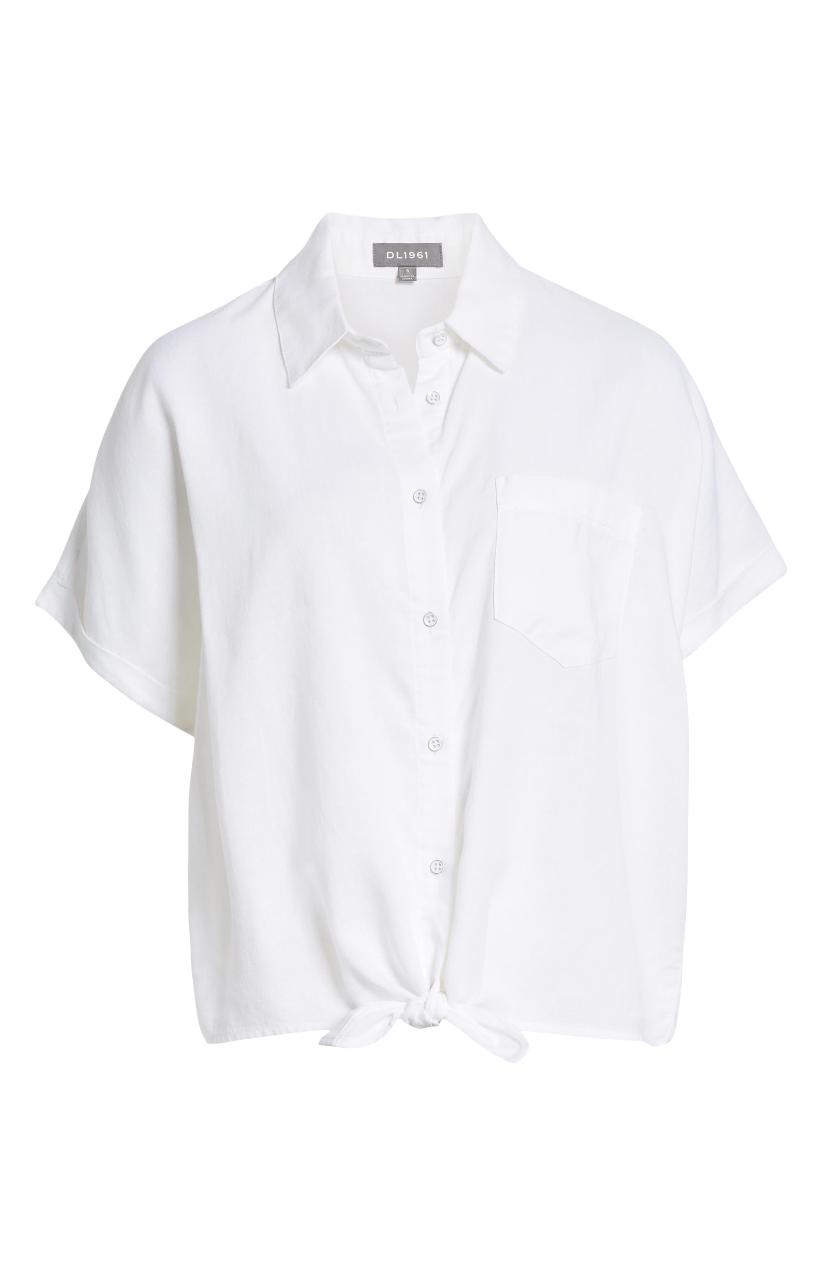 DL1961, Chrystie Tie Waist Shirt, Alternate thumbnail 6, color, WHITE