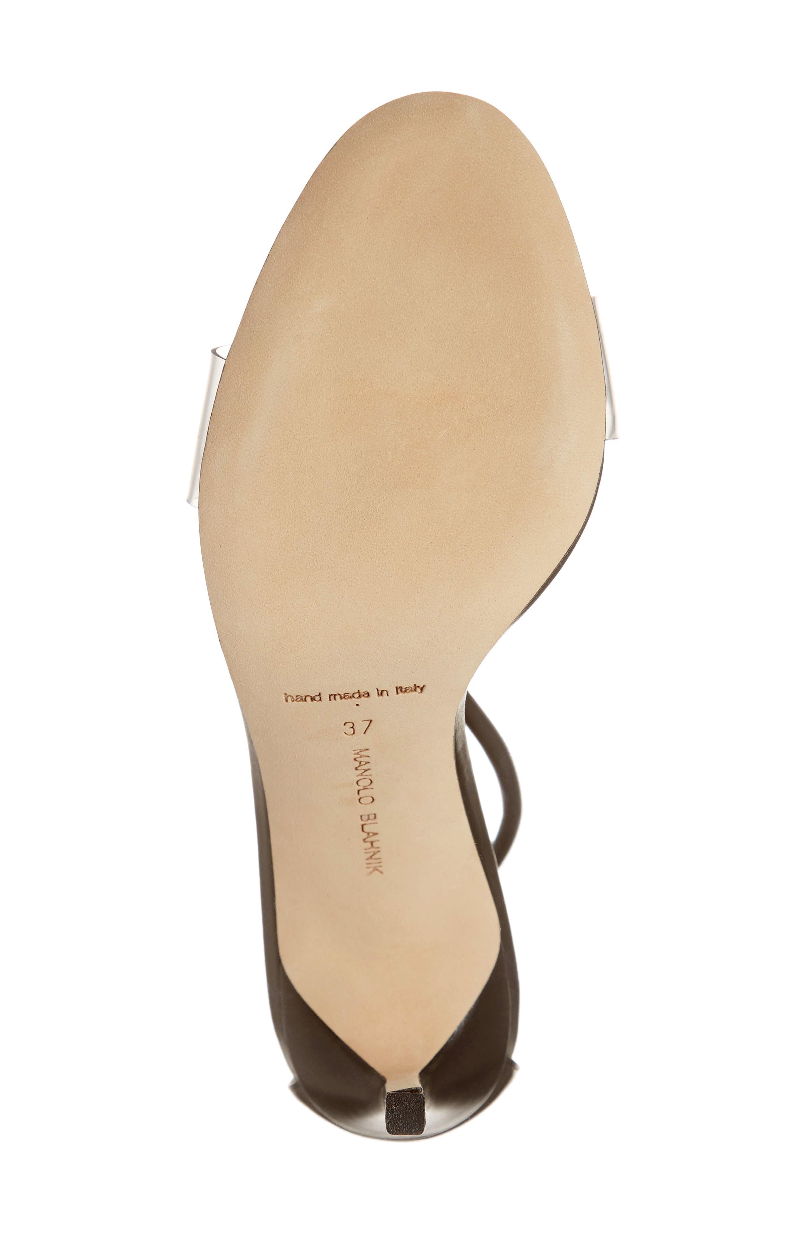 MANOLO BLAHNIK, Estro Ankle Tie Sandal, Alternate thumbnail 6, color, BLACK LEATHER