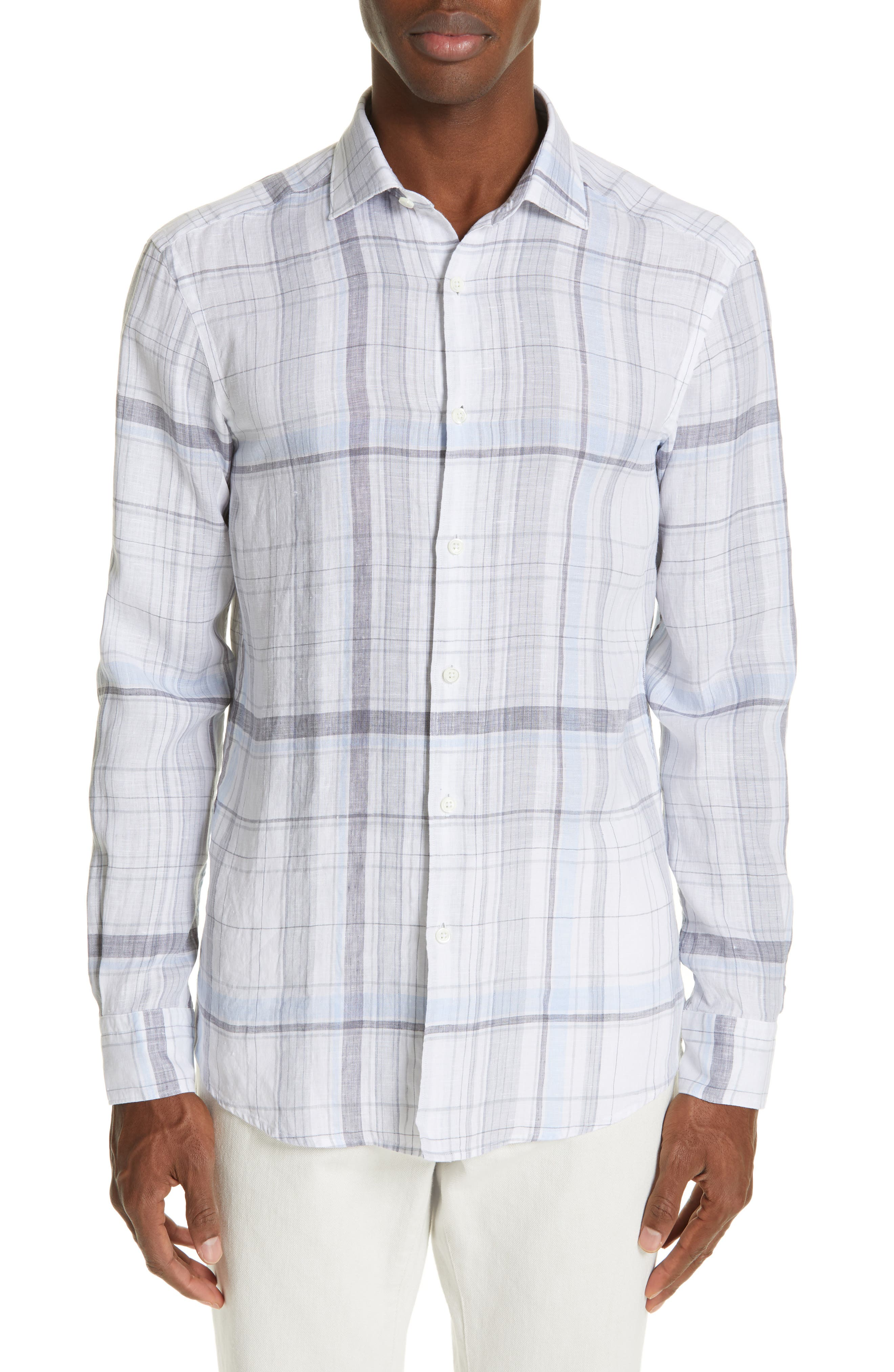 ERMENEGILDO ZEGNA, Regular Fit Plaid Linen Sport Shirt, Main thumbnail 1, color, BLUE