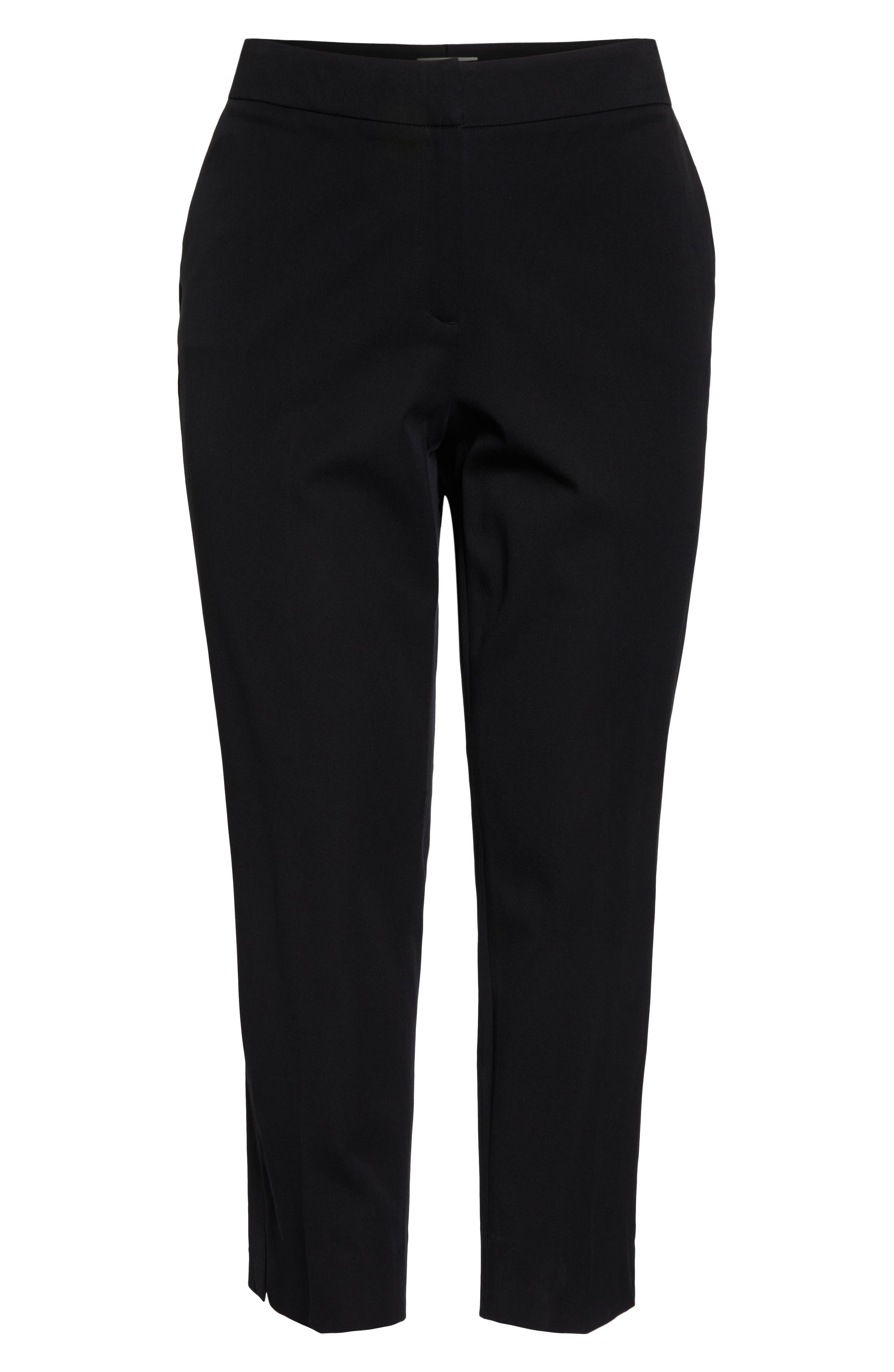 SEJOUR, Straight Leg Ankle Pants, Alternate thumbnail 8, color, BLACK