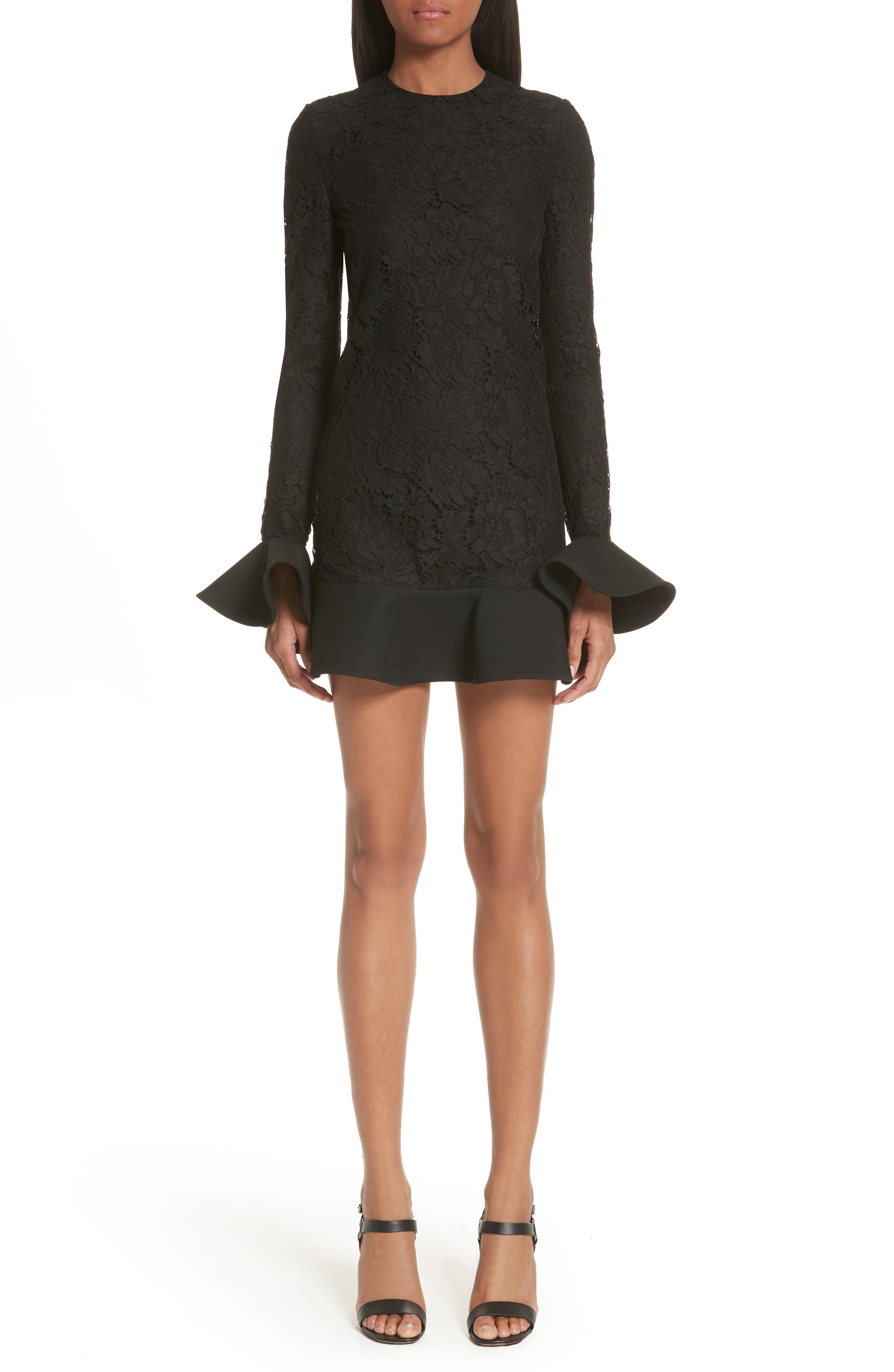 VALENTINO, Ruffle Hem Lace Dress, Main thumbnail 1, color, BLACK