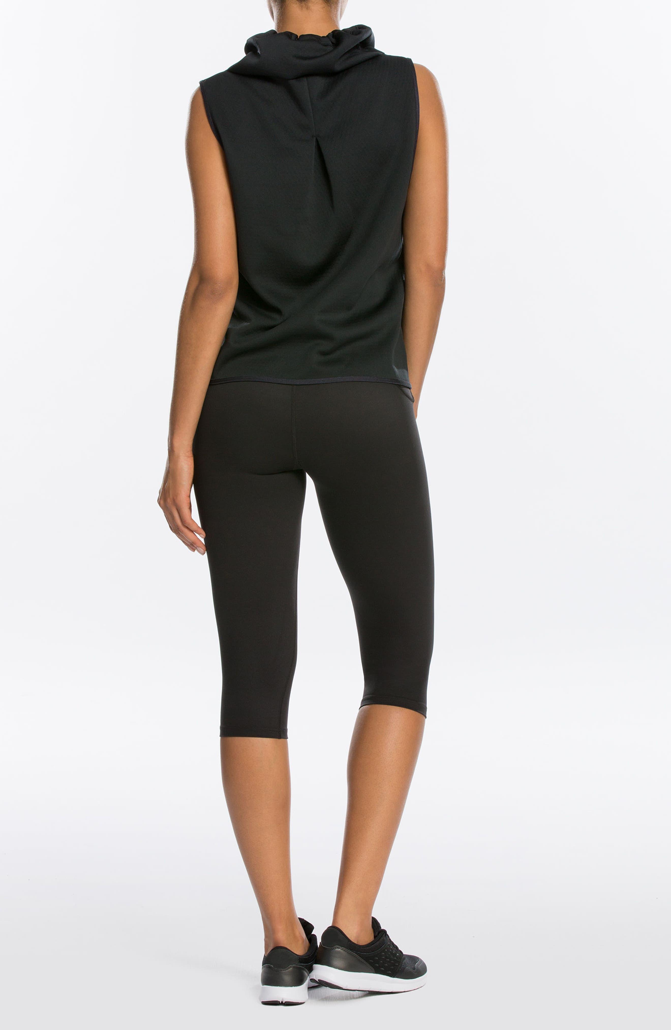 SPANX<SUP>®</SUP>, Active Knee-Length Leggings, Alternate thumbnail 9, color, BLACK