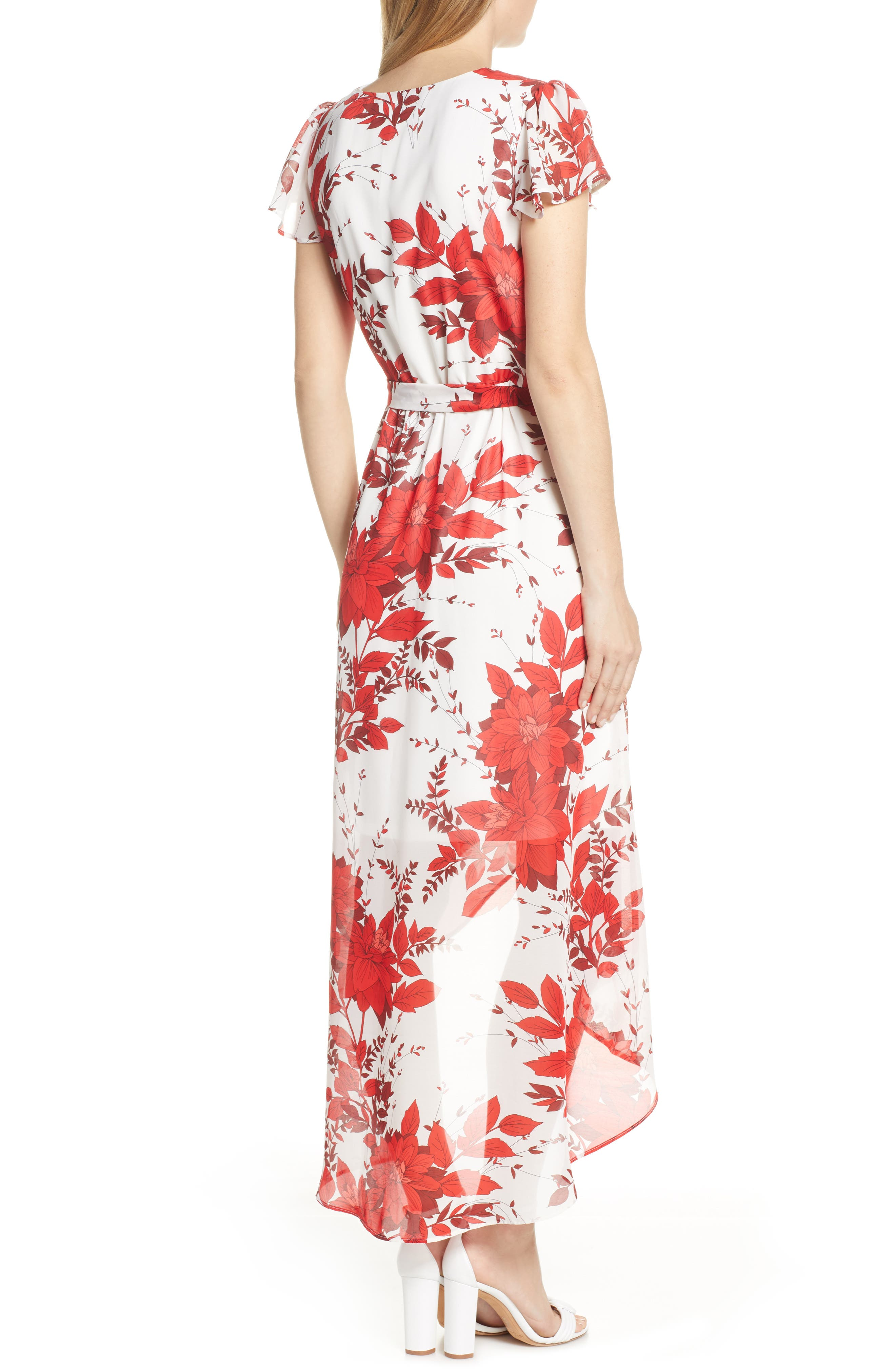 JULIA JORDAN, High/Low Floral Wrap Dress, Alternate thumbnail 2, color, IVORY/ RED