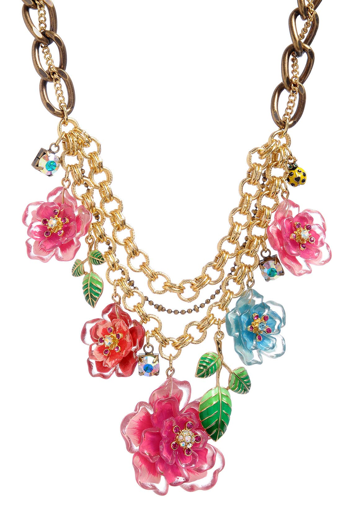 BETSEY JOHNSON, 'Hawaiian Luau' Floral Bib Statement Necklace, Main thumbnail 1, color, 960