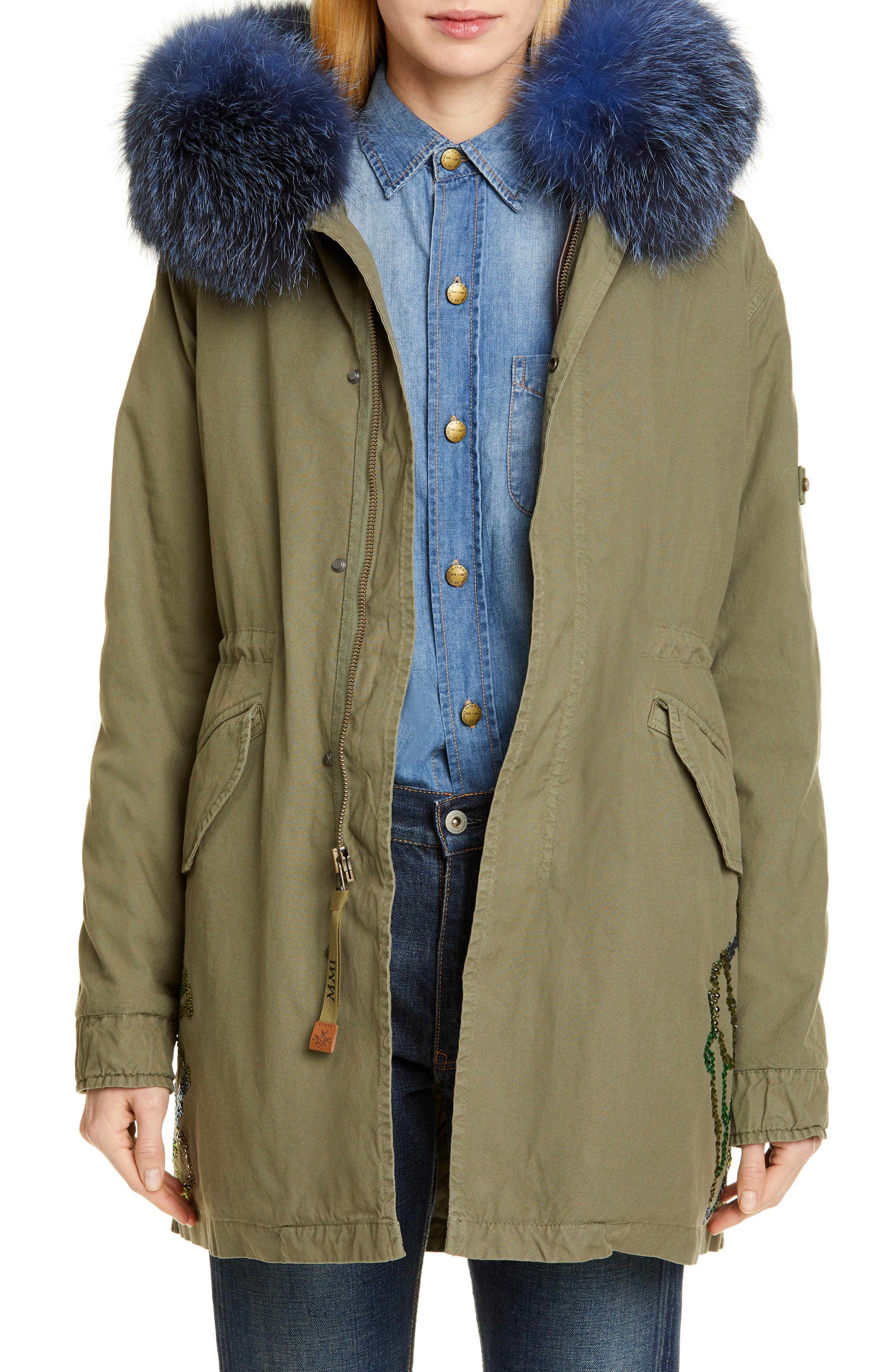 MR & MRS ITALY Crystal Embellished Parka with Removable Genuine Fox Fur Trim, Main, color, ARMY