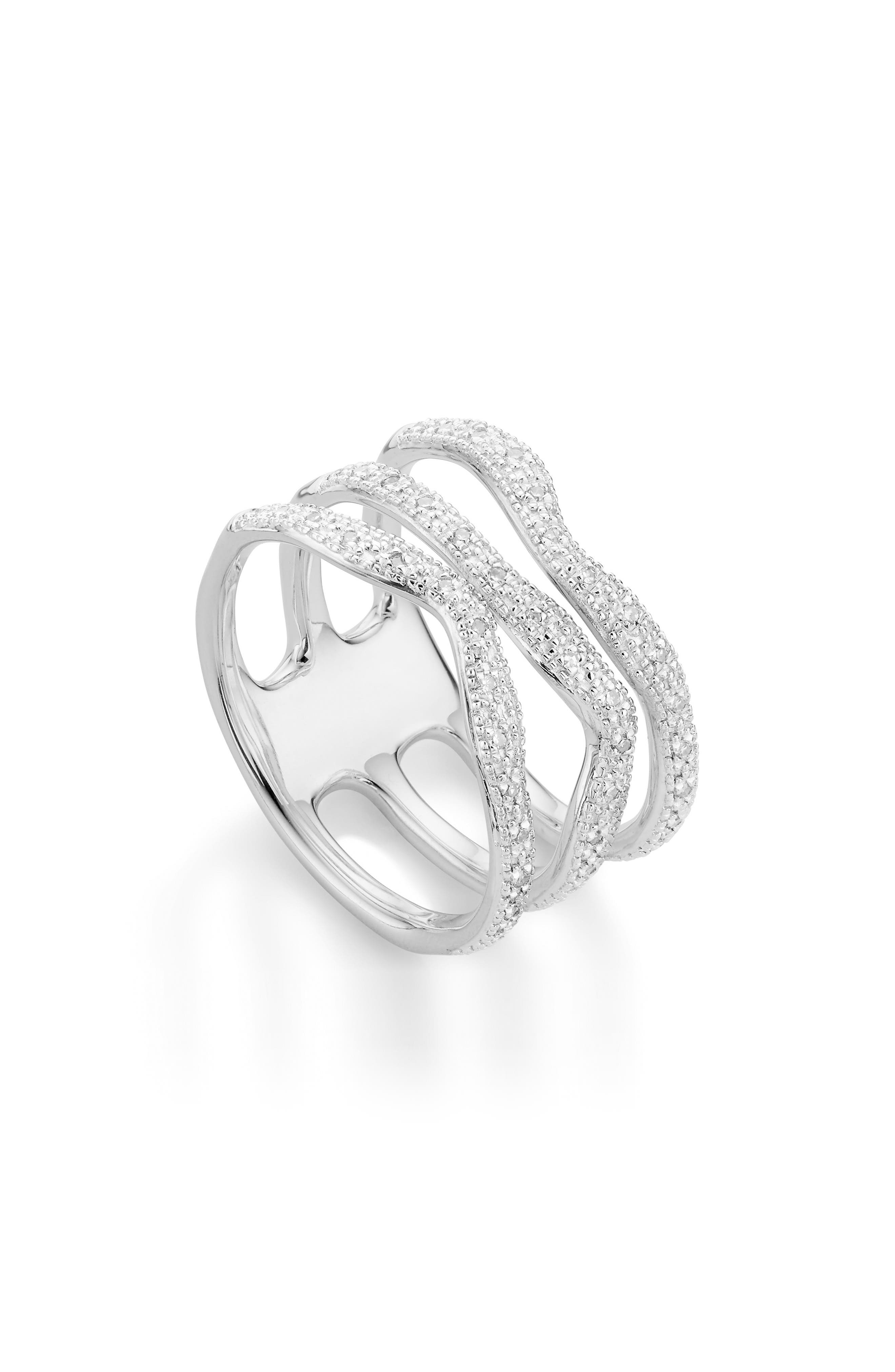 MONICA VINADER, Riva Triple Wave Diamond Ring, Alternate thumbnail 2, color, SILVER