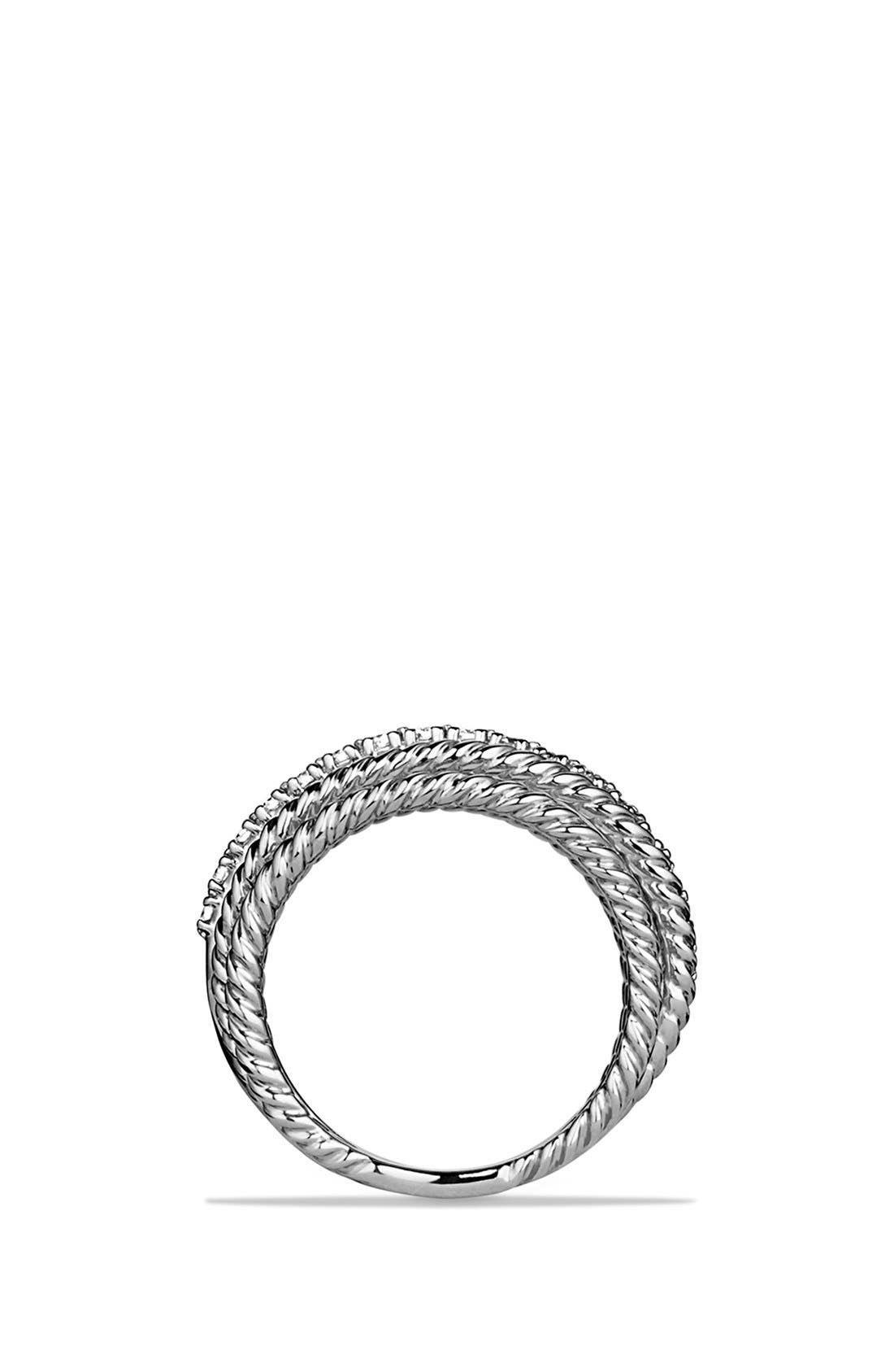 DAVID YURMAN, 'Crossover' Wide Ring with Diamonds, Alternate thumbnail 4, color, DIAMOND