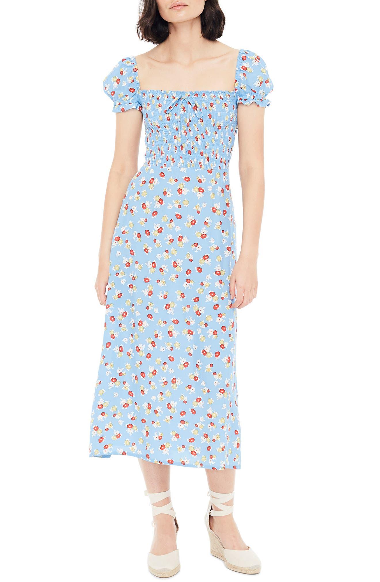 FAITHFULL THE BRAND, Castilo Jasmin Midi Dress, Alternate thumbnail 5, color, JASMIN FLORAL PRINT - BLUE