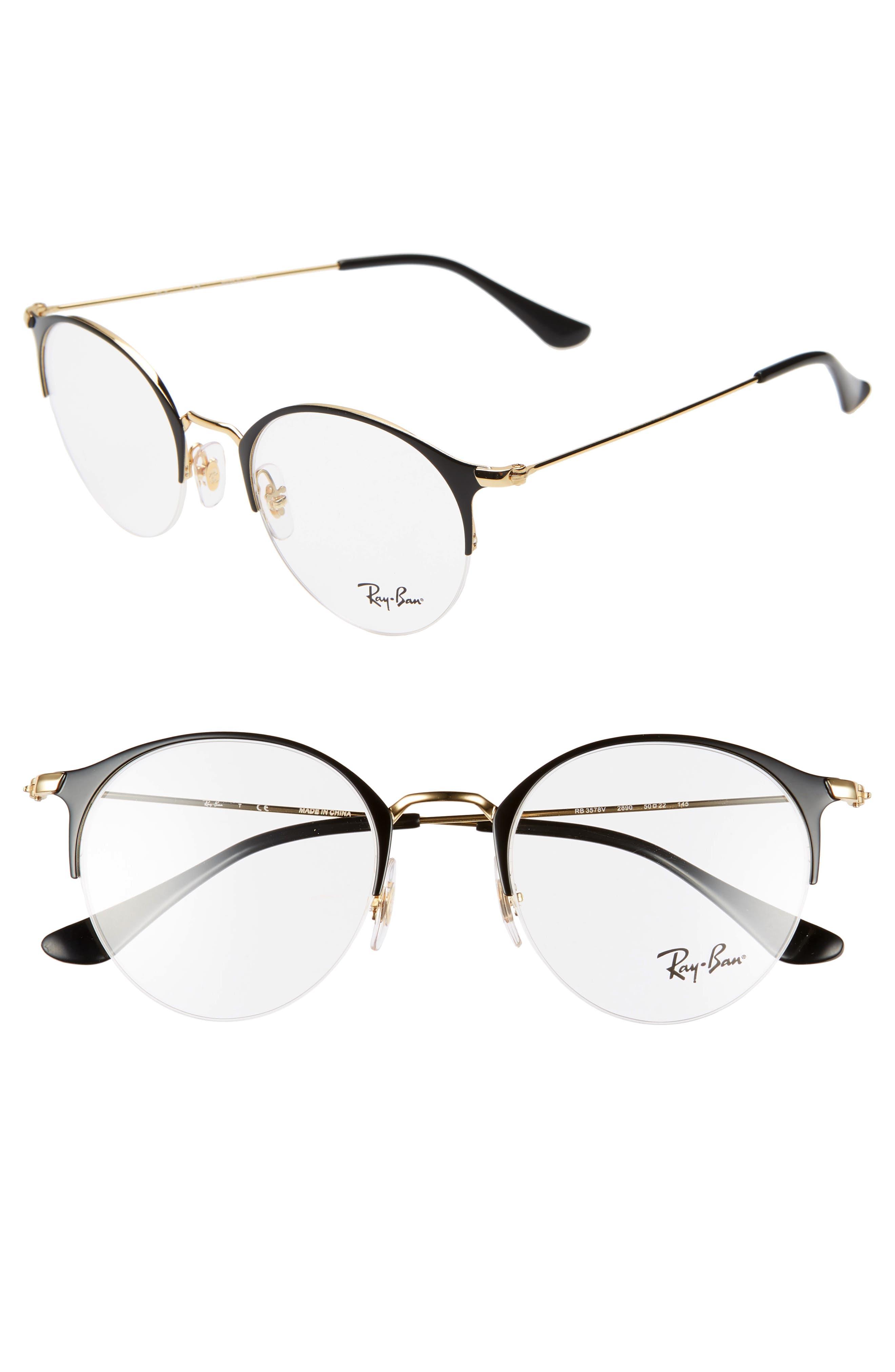 RAY-BAN 50mm Optical Glasses, Main, color, BLACK/ GOLD