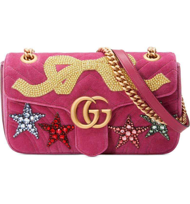 f72a6ce0629 Gucci Small GG Marmont 2.0 Matelassé Velvet Shoulder Bag