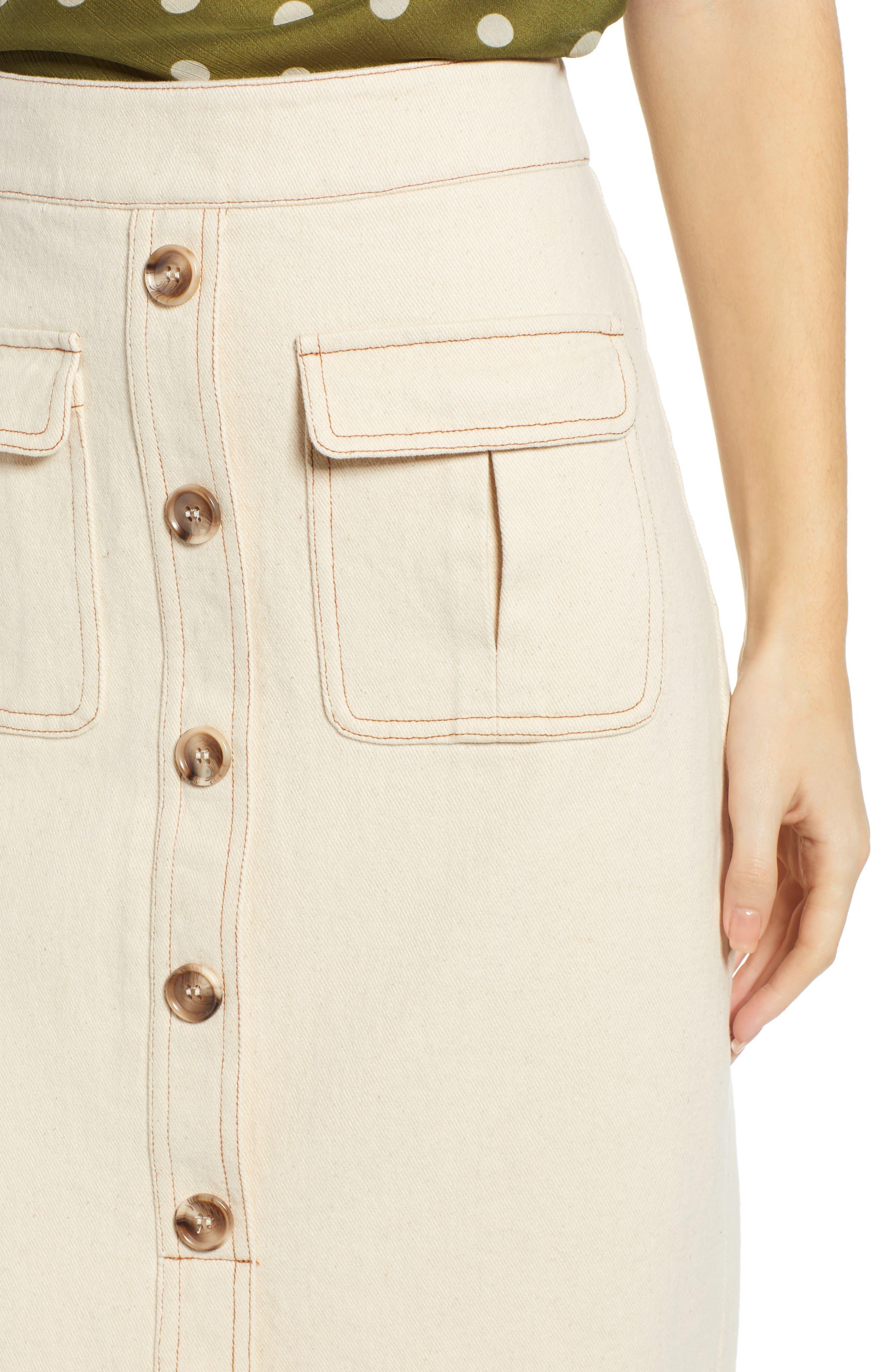 CHRISELLE LIM COLLECTION, Chriselle Lim Marine Midi Skirt, Alternate thumbnail 4, color, BONE