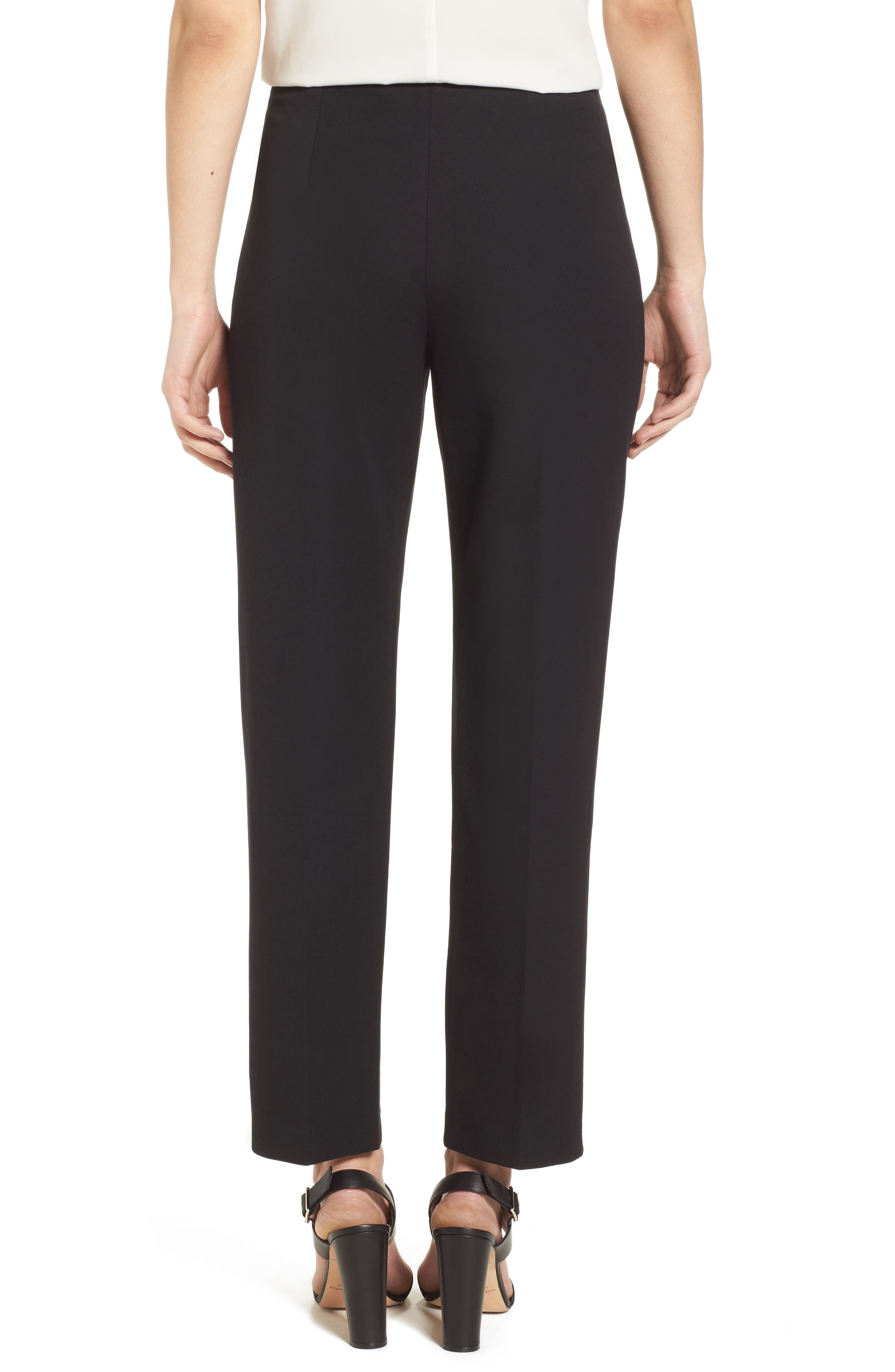 MING WANG, Woven Slim Ankle Pants, Alternate thumbnail 2, color, BLACK