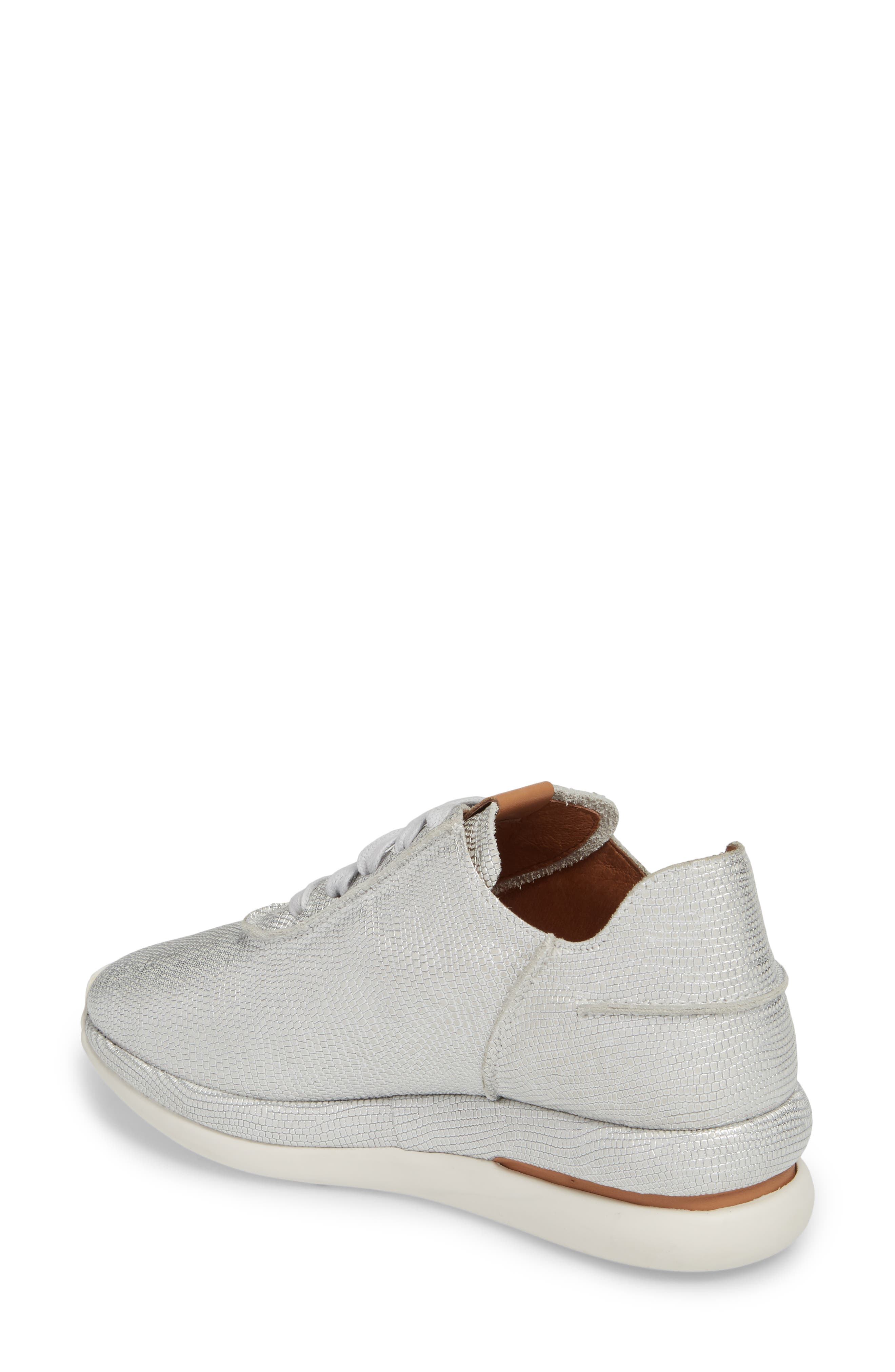 GENTLE SOULS BY KENNETH COLE, Raina Sneaker, Alternate thumbnail 2, color, WHITE/ SILVER LEATHER