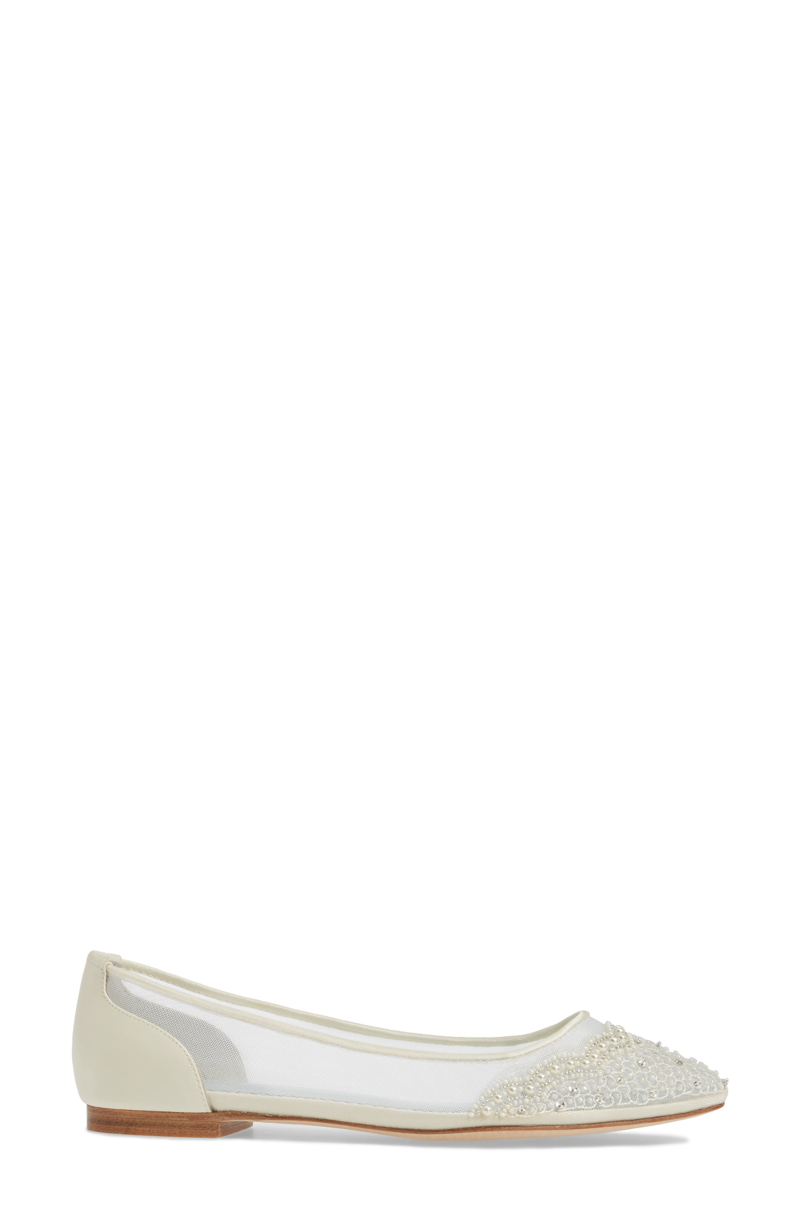 BELLA BELLE, Hailey Skimmer Flat, Alternate thumbnail 3, color, IVORY FABRIC