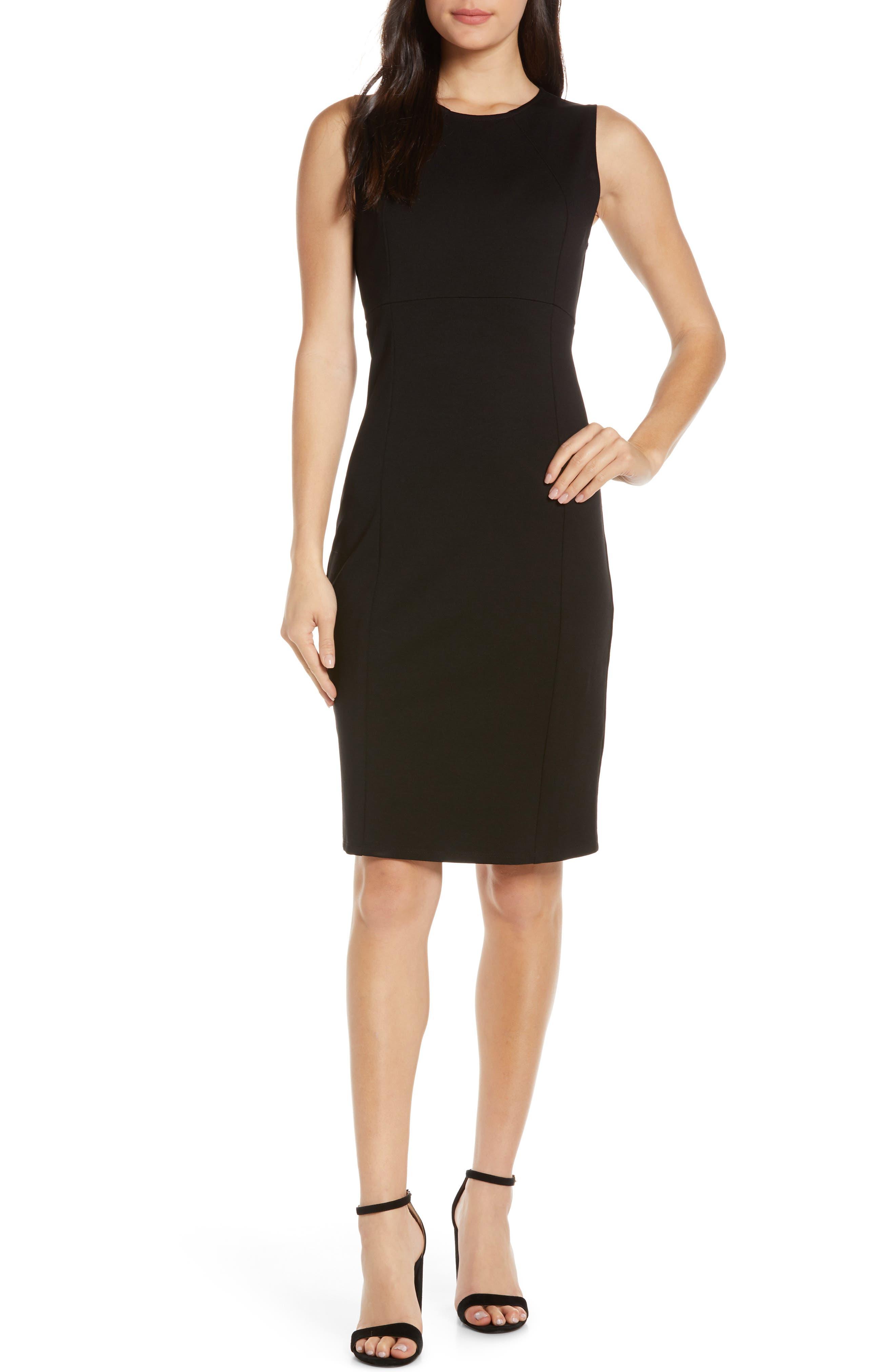 CHARLES HENRY, Sleeveless Sheath Dress, Main thumbnail 1, color, BLACK