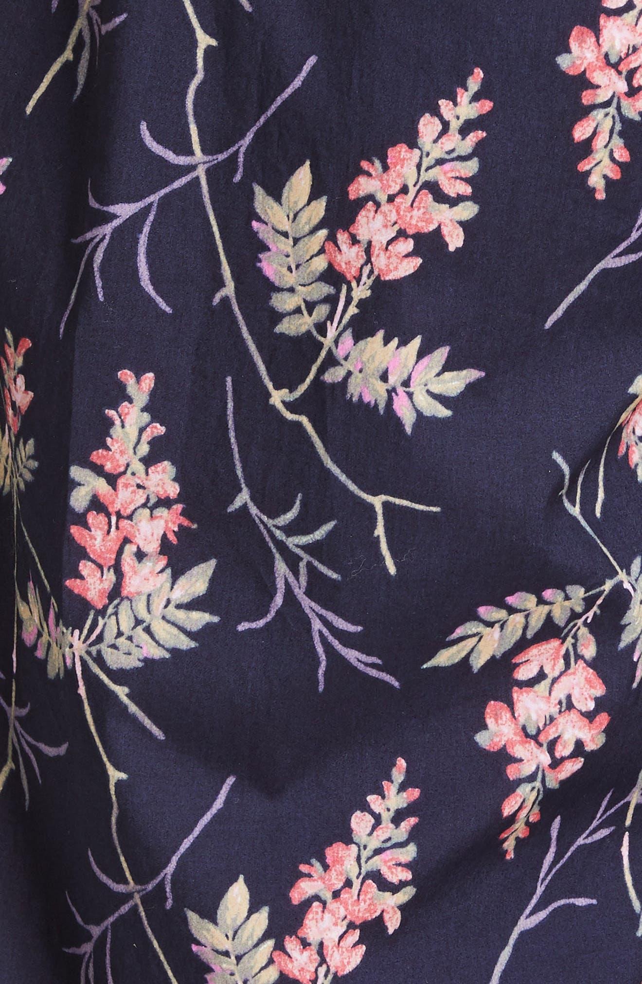 REBECCA TAYLOR, Ivie Floral Cotton Jumpsuit, Alternate thumbnail 5, color, NAVY COMBO