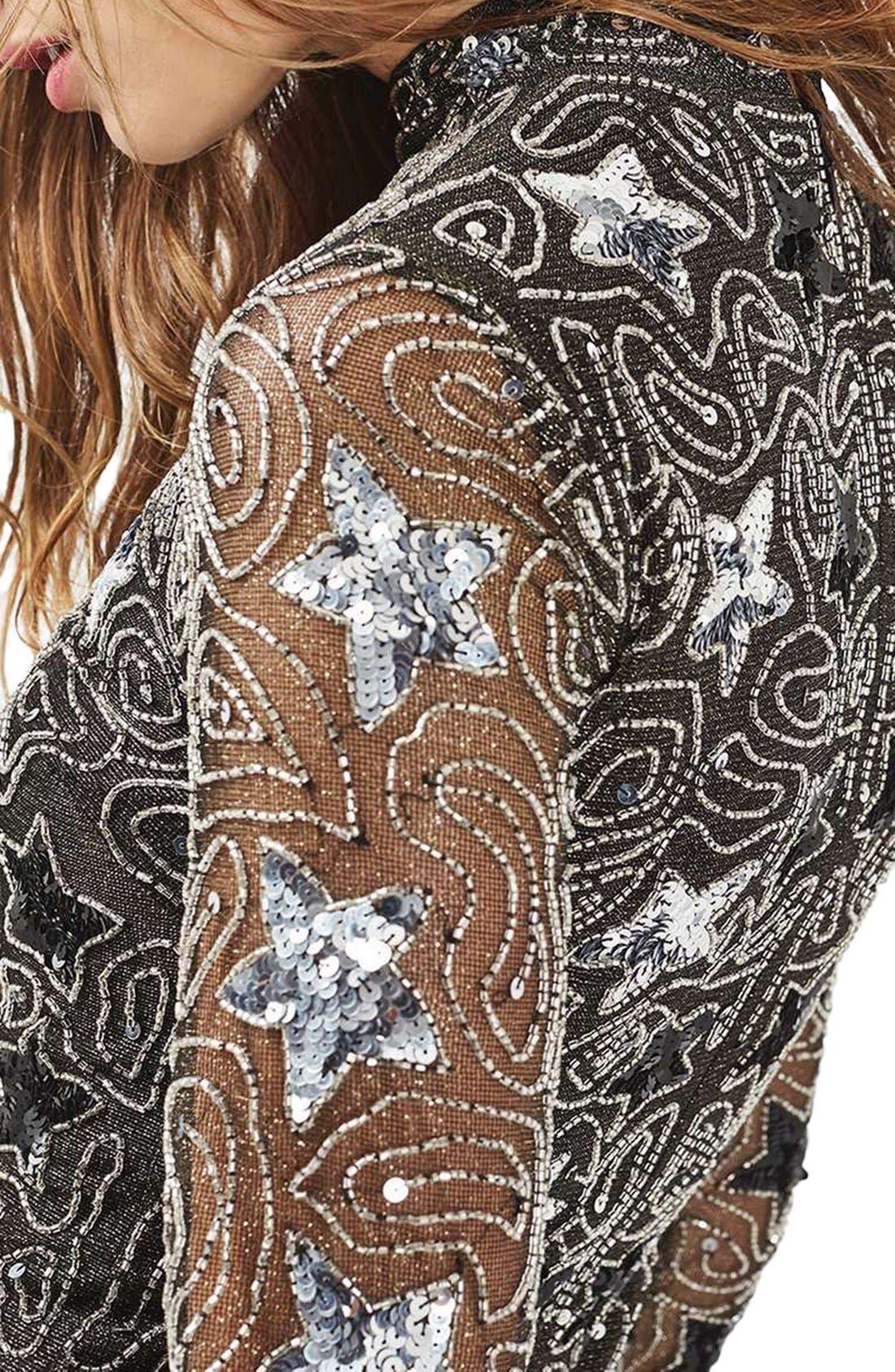 TOPSHOP, Star Embellished Minidress, Alternate thumbnail 5, color, 040