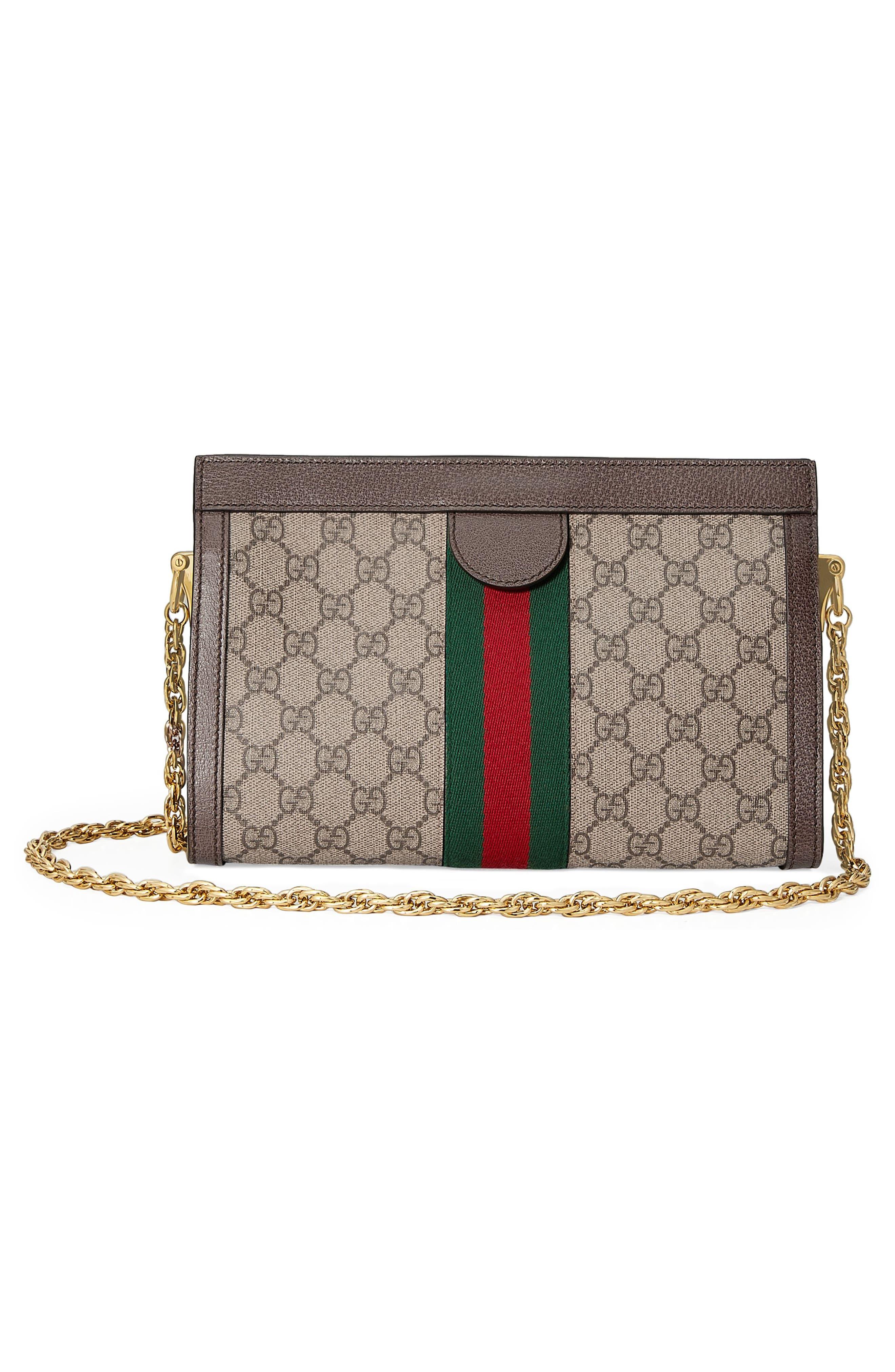 GUCCI, Small GG Supreme Shoulder Bag, Alternate thumbnail 3, color, BEIGE EBONY/ NERO/ VERT/ RED
