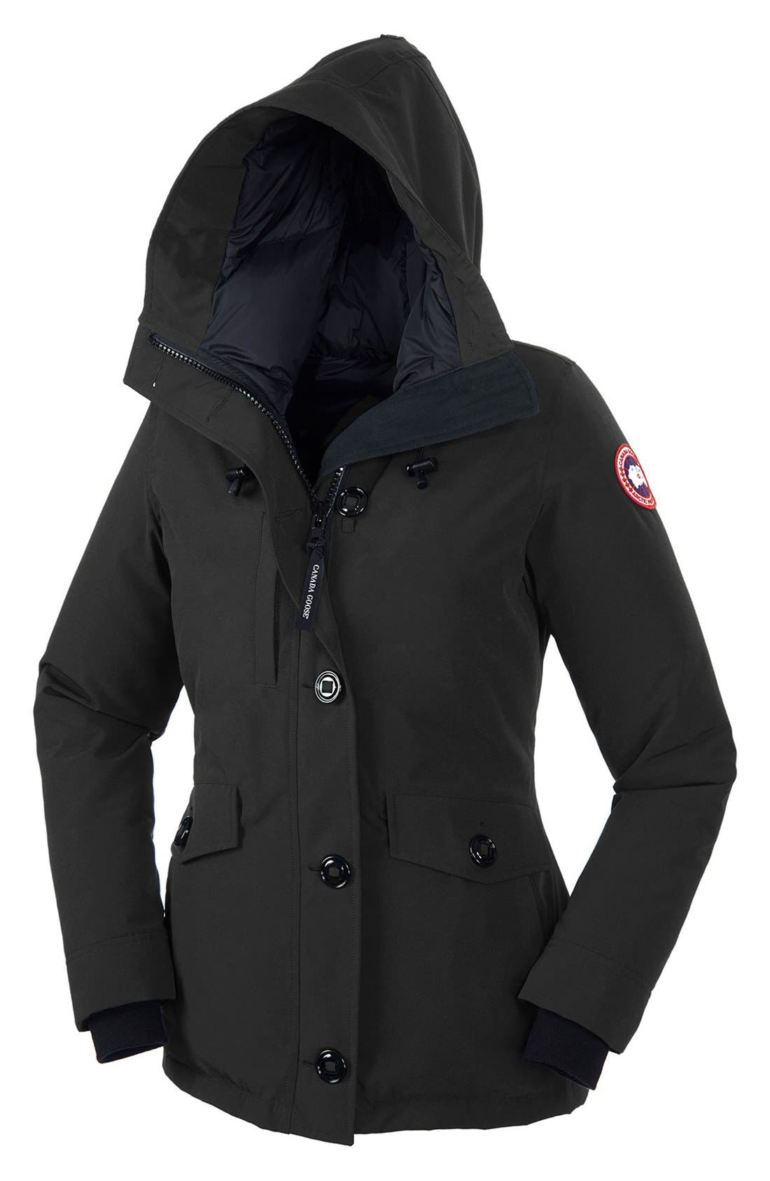 CANADA GOOSE, 'Rideau' Slim Fit Down Parka, Alternate thumbnail 2, color, BLACK
