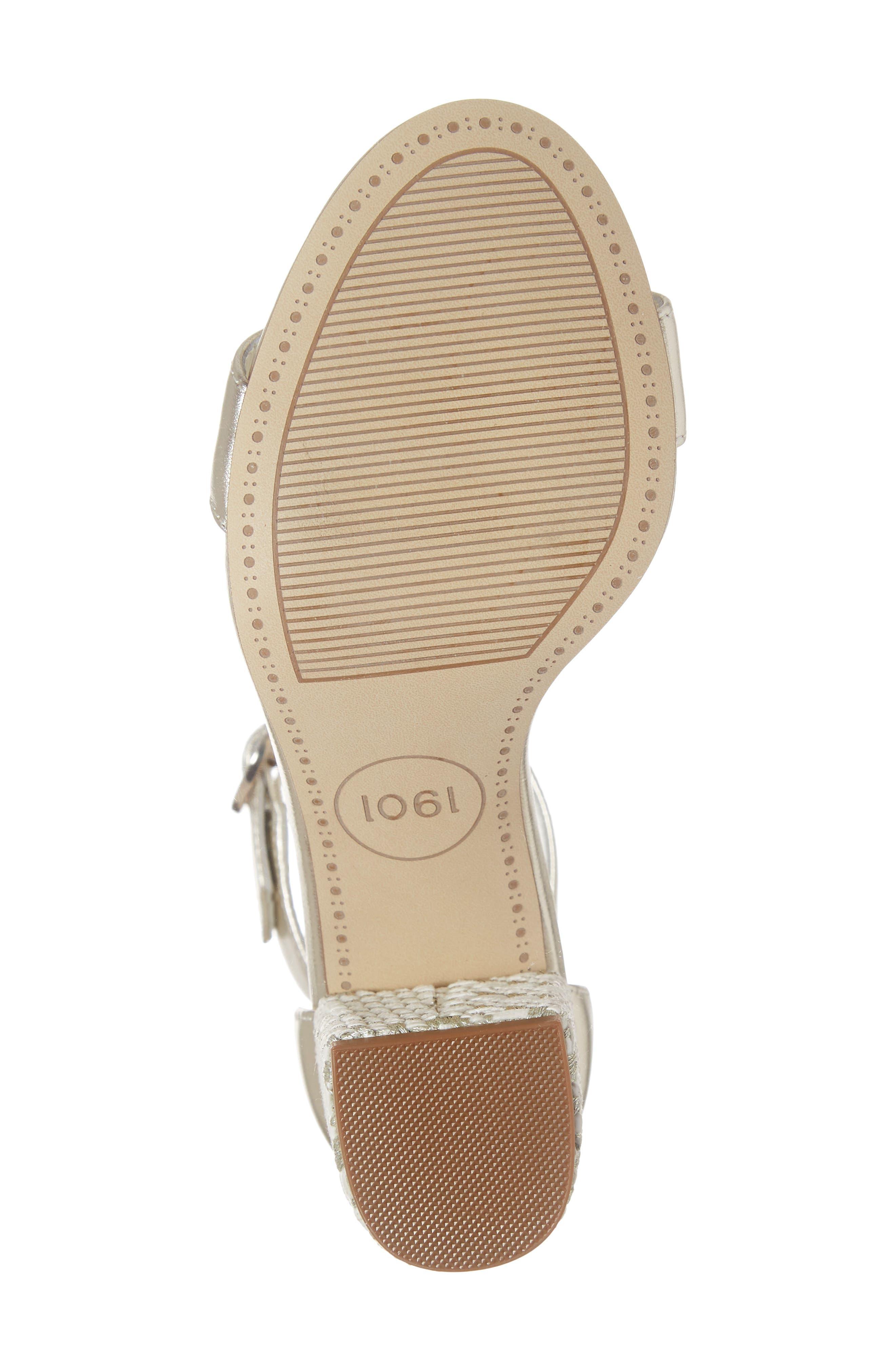 1901, Ellery Block Heel Sandal, Alternate thumbnail 6, color, PLATINO LEATHER