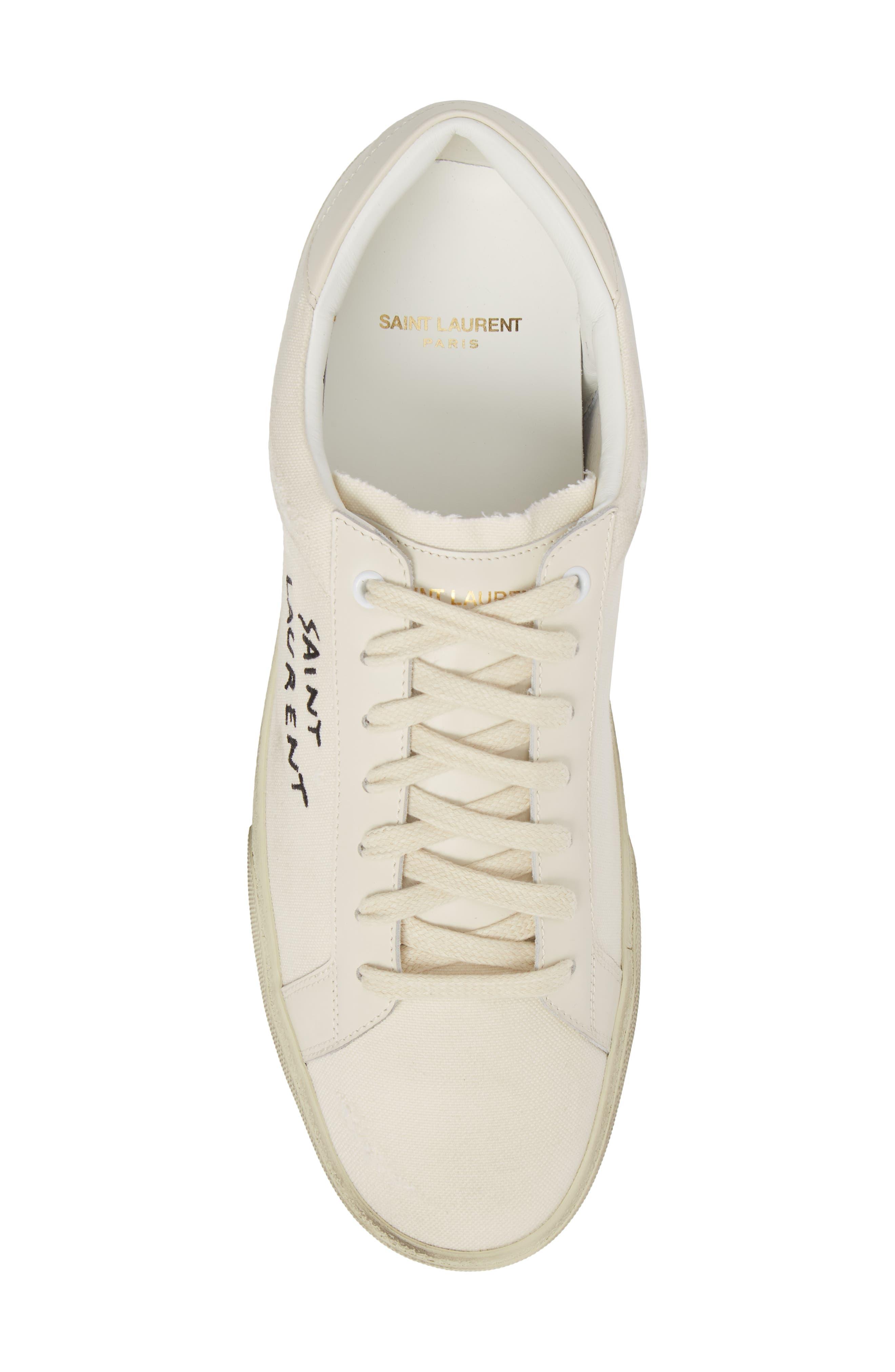 SAINT LAURENT, Logo Embroidered Sneaker, Alternate thumbnail 5, color, 9113 PANNA/PANNA