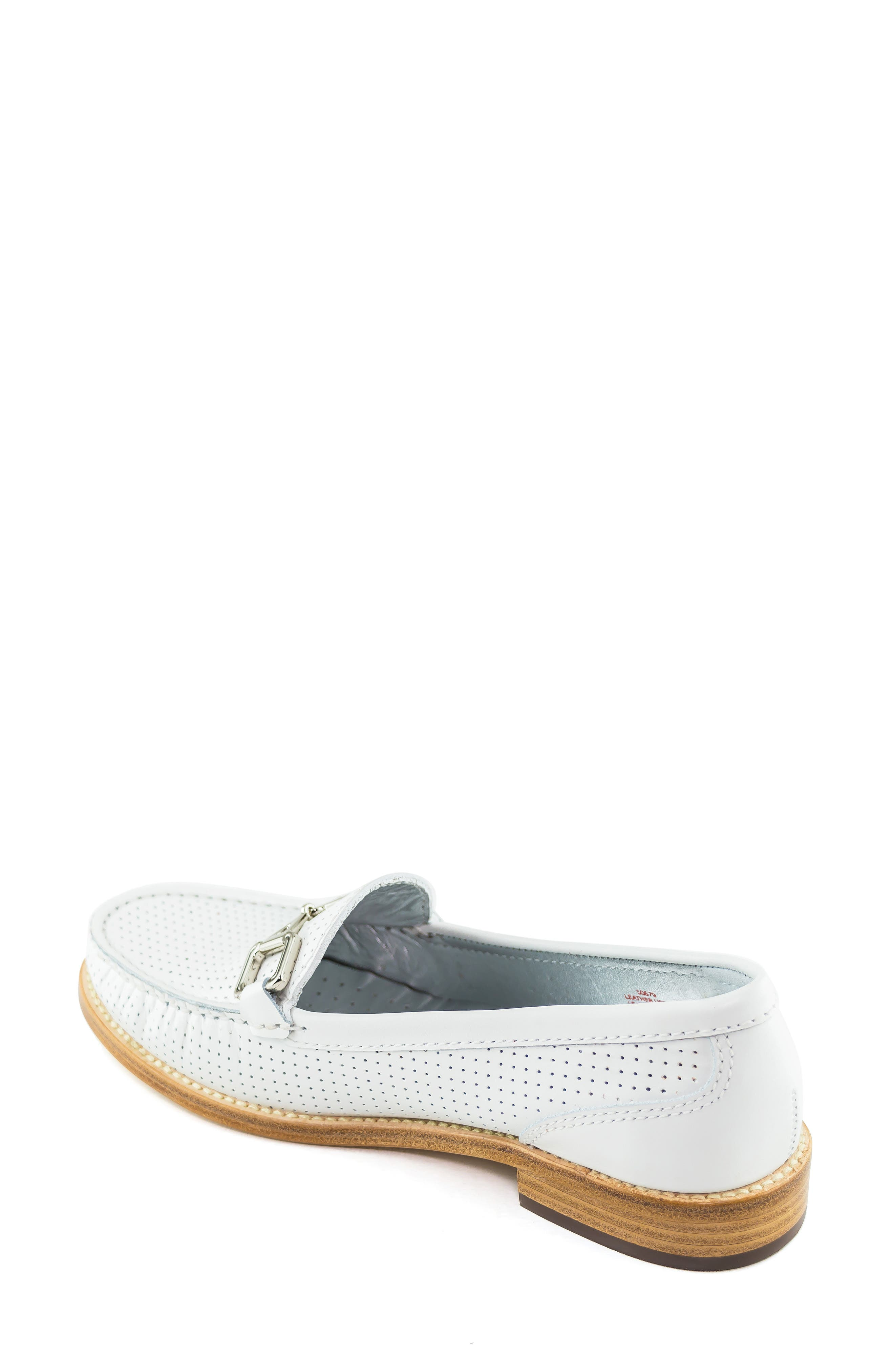 MARC JOSEPH NEW YORK, Park Ave Perforated Loafer, Alternate thumbnail 2, color, WHITE LEATHER