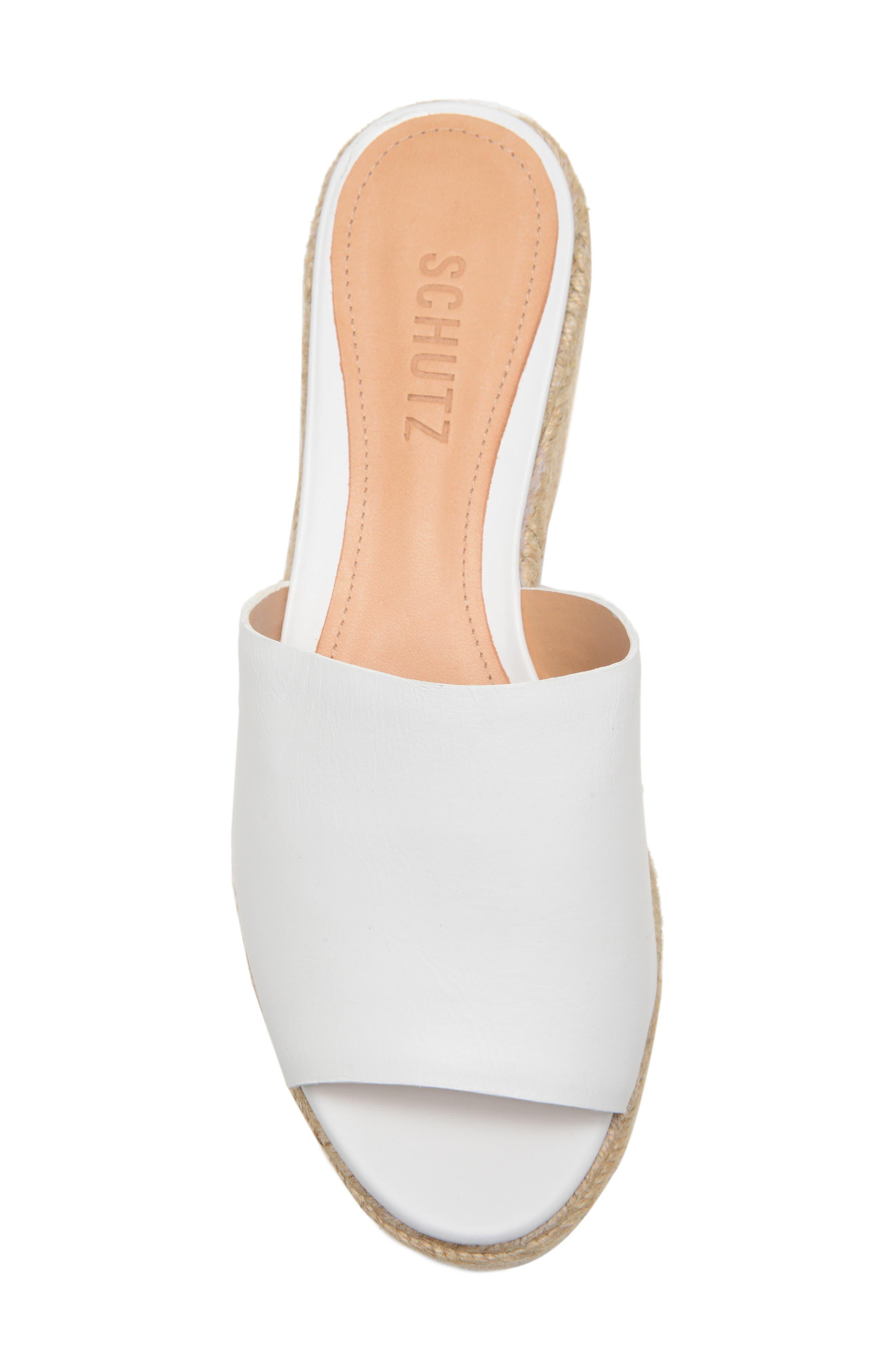 SCHUTZ, Thalia Platform Wedge Slide Sandal, Alternate thumbnail 5, color, WHITE