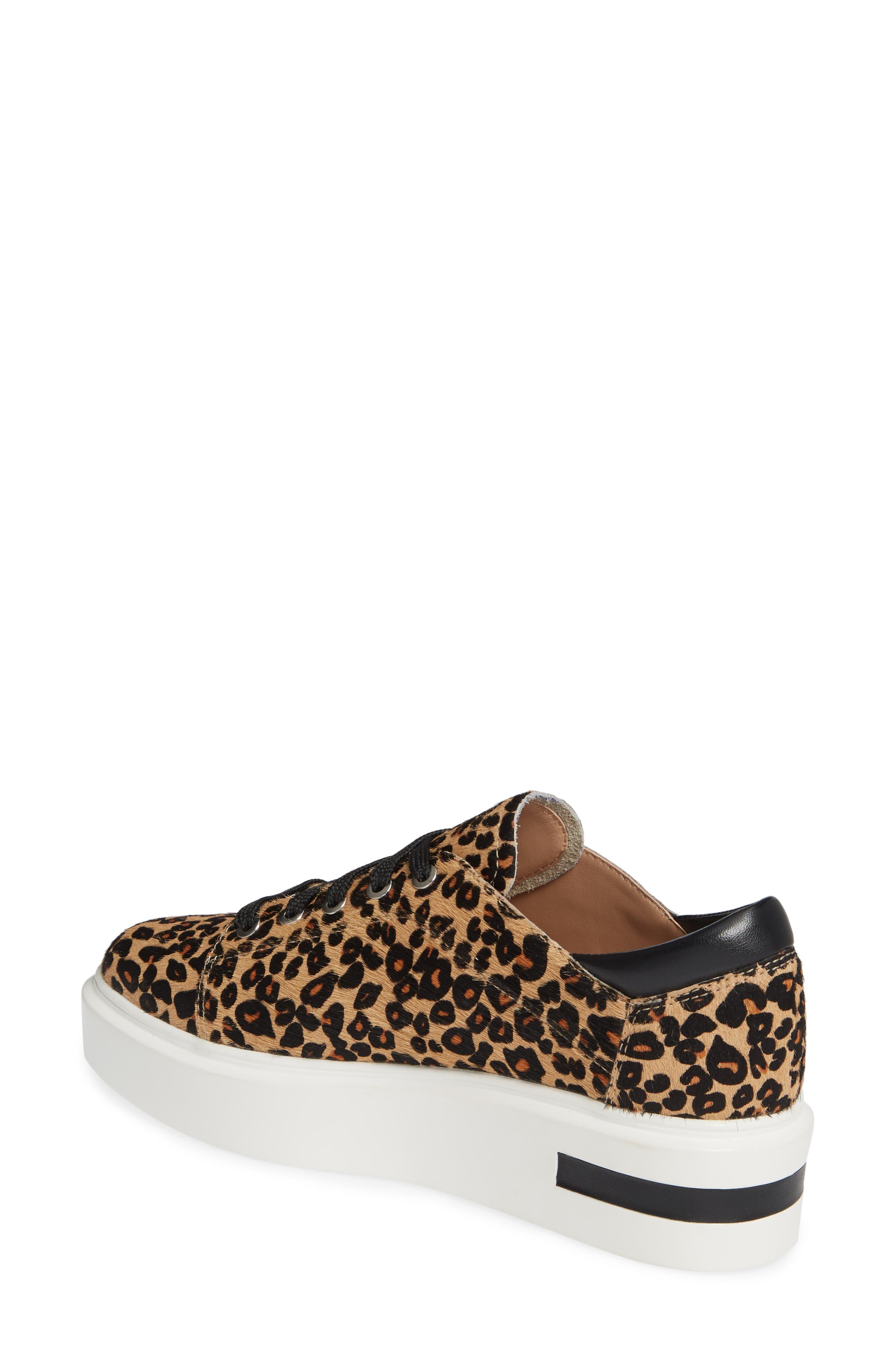 LINEA PAOLO, Kendra Genuine Calf Hair Platform Sneaker, Alternate thumbnail 2, color, LEOPARD PRINT CALF HAIR
