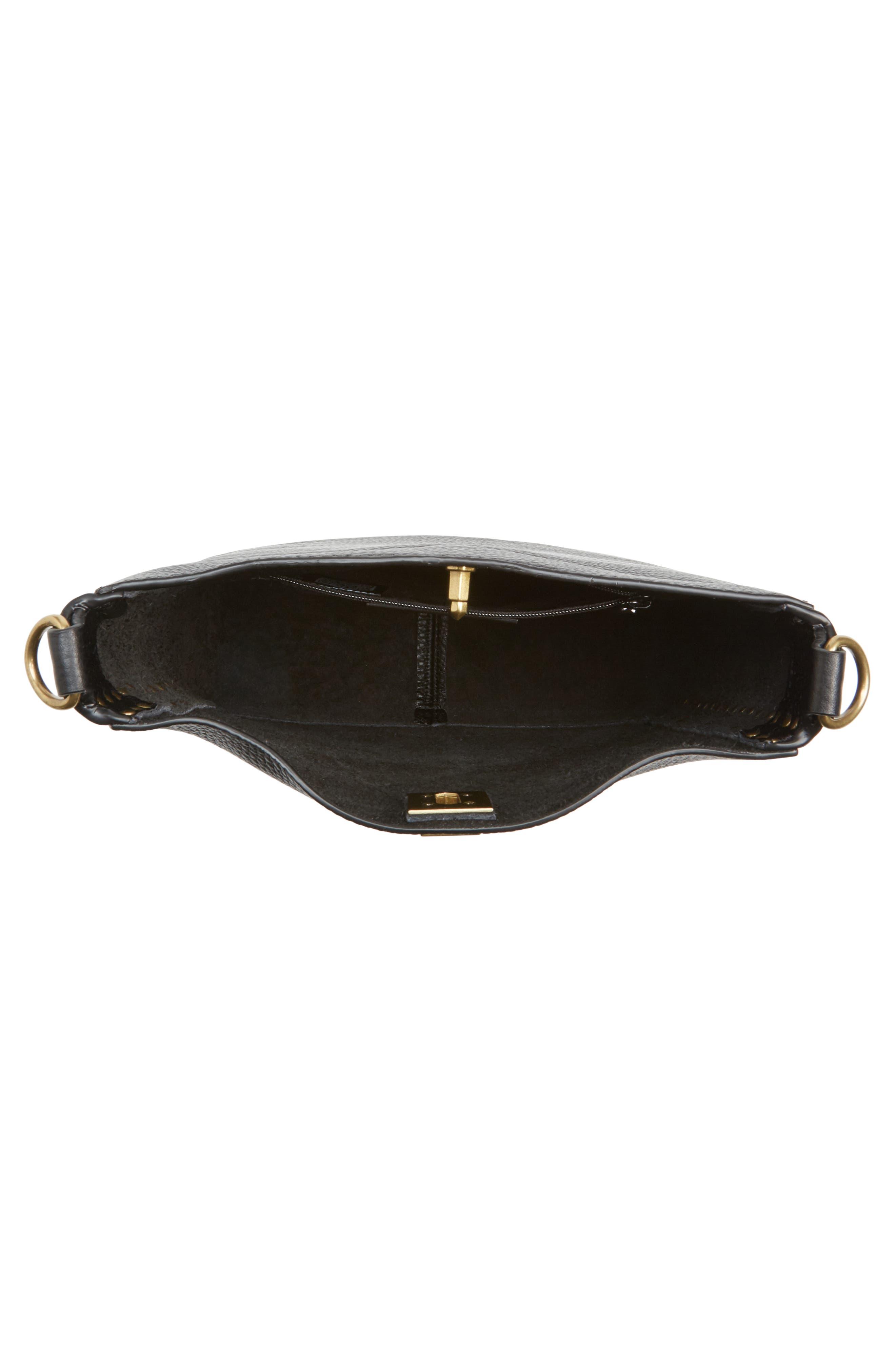 REBECCA MINKOFF, Small Darren Deerskin Leather Feed Bag, Alternate thumbnail 5, color, BLACK