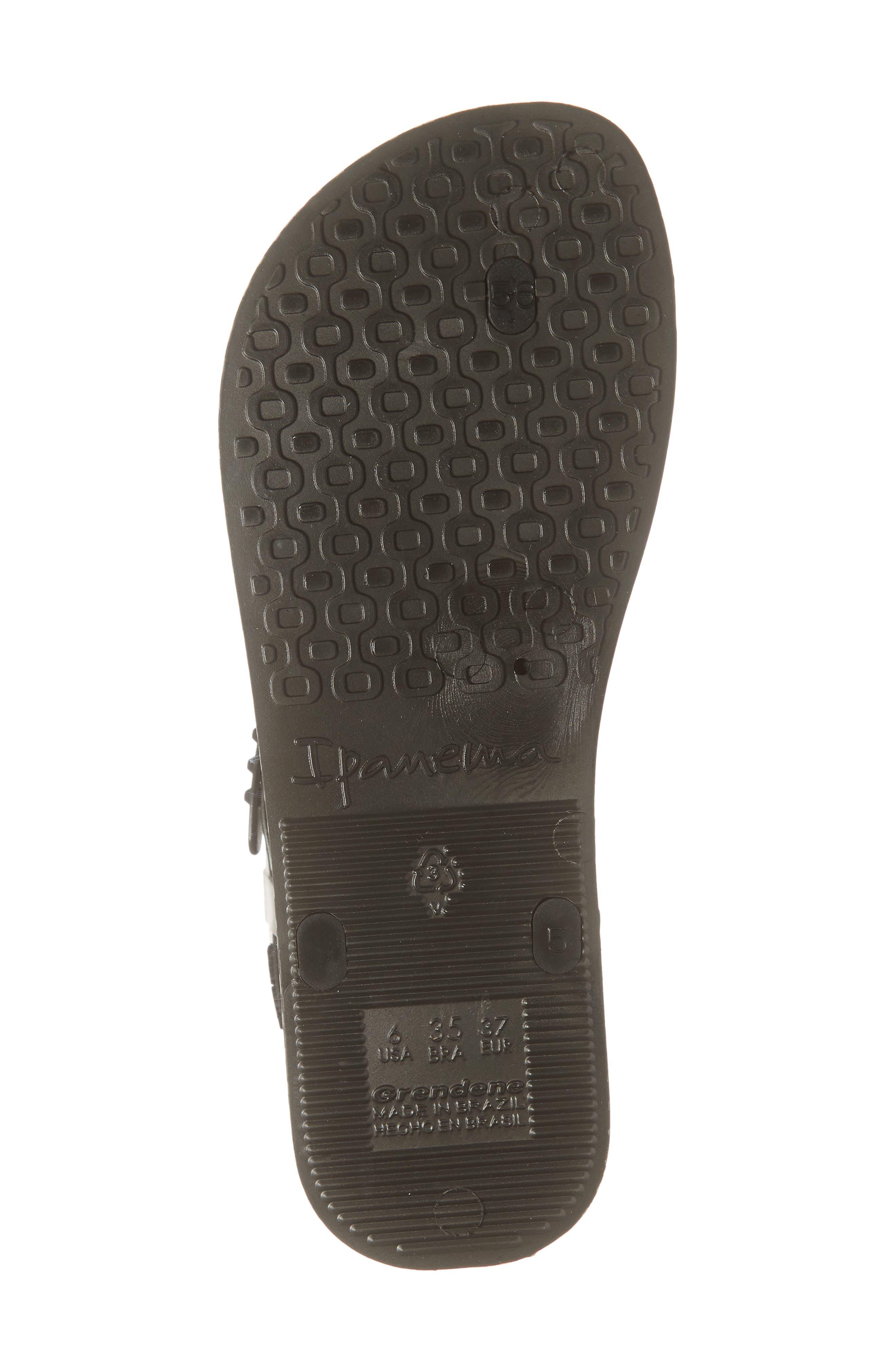 IPANEMA, Plush Weave T-Strap Sandal, Alternate thumbnail 6, color, BLACK