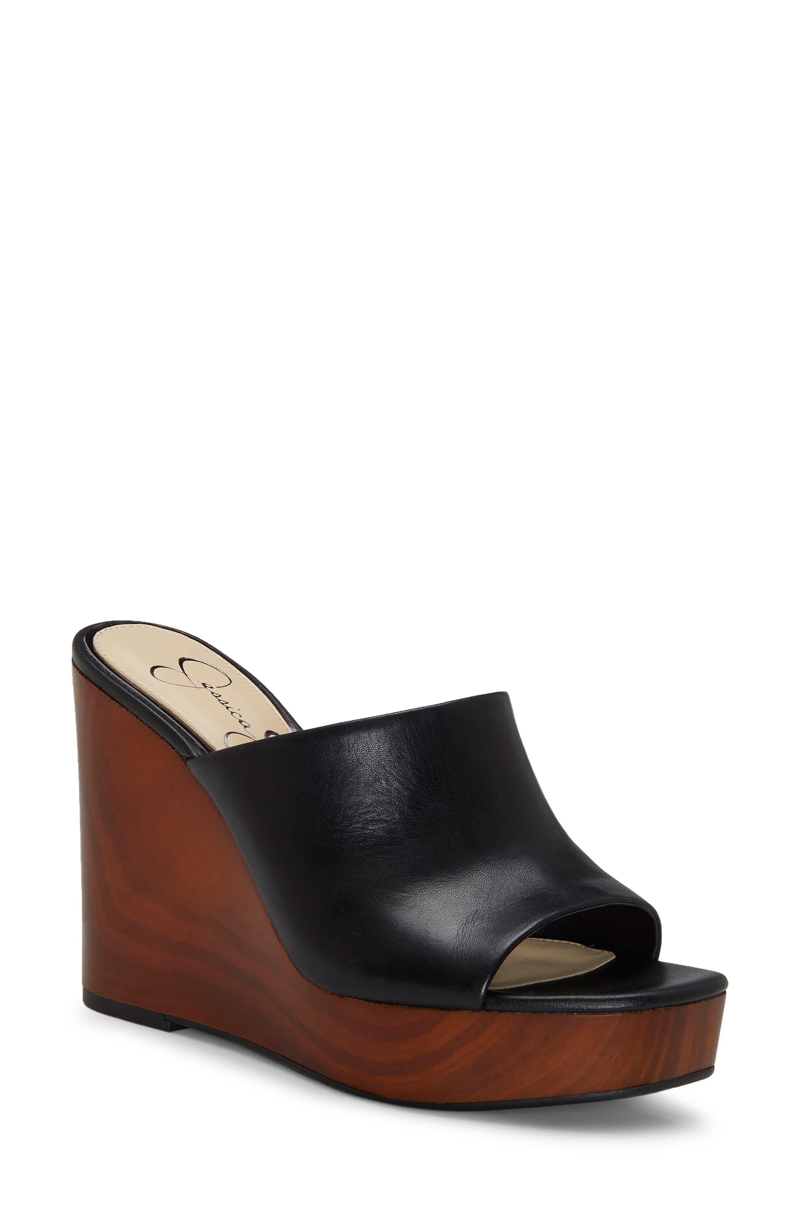 JESSICA SIMPSON Shantelle Wedge Slide Sandal, Main, color, BLACK LEATHER