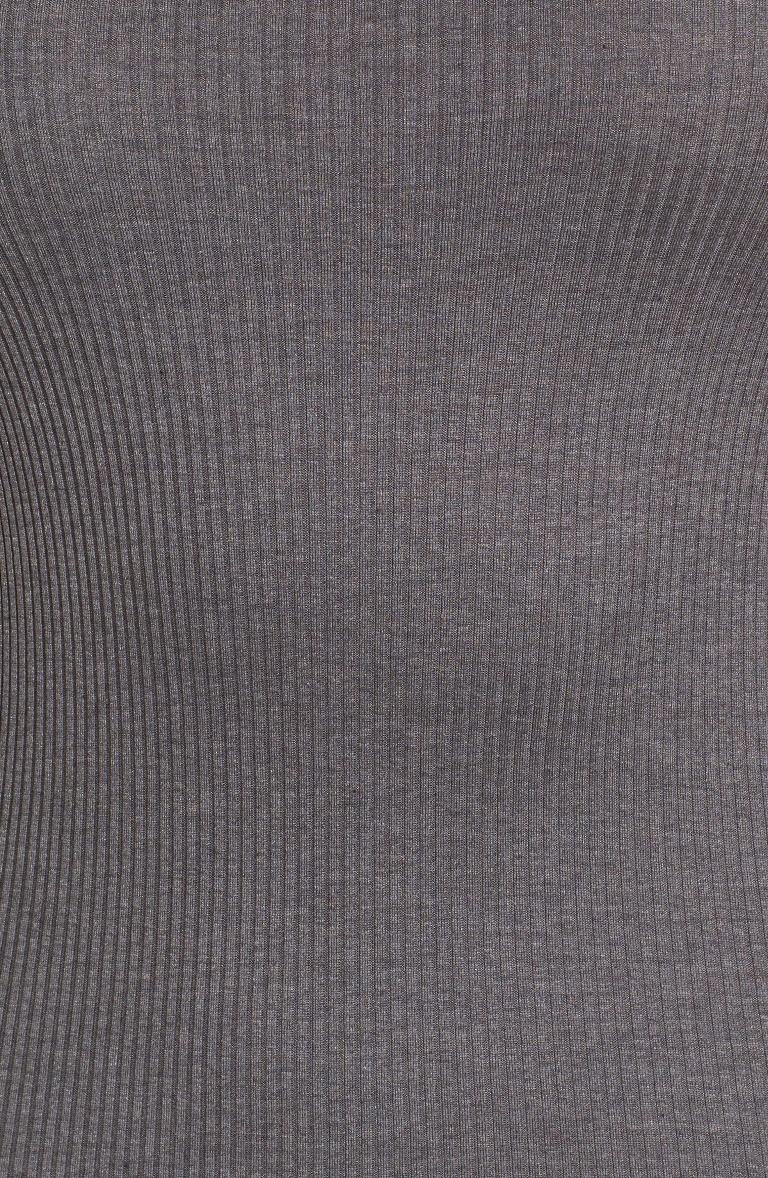 ROSEMUNDE, Silk & Cotton Rib Knit Tank, Alternate thumbnail 6, color, DARK GREY
