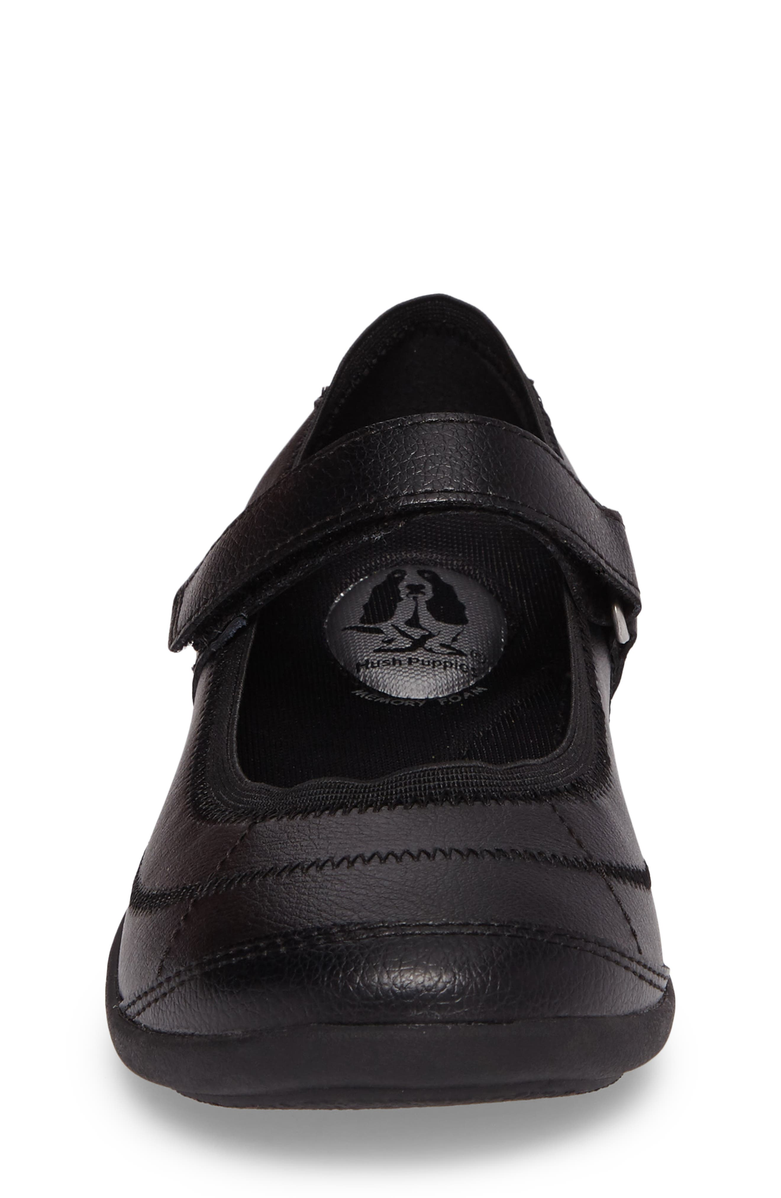 HUSH PUPPIES<SUP>®</SUP>, Reese Mary Jane Flat, Alternate thumbnail 4, color, BLACK LEATHER