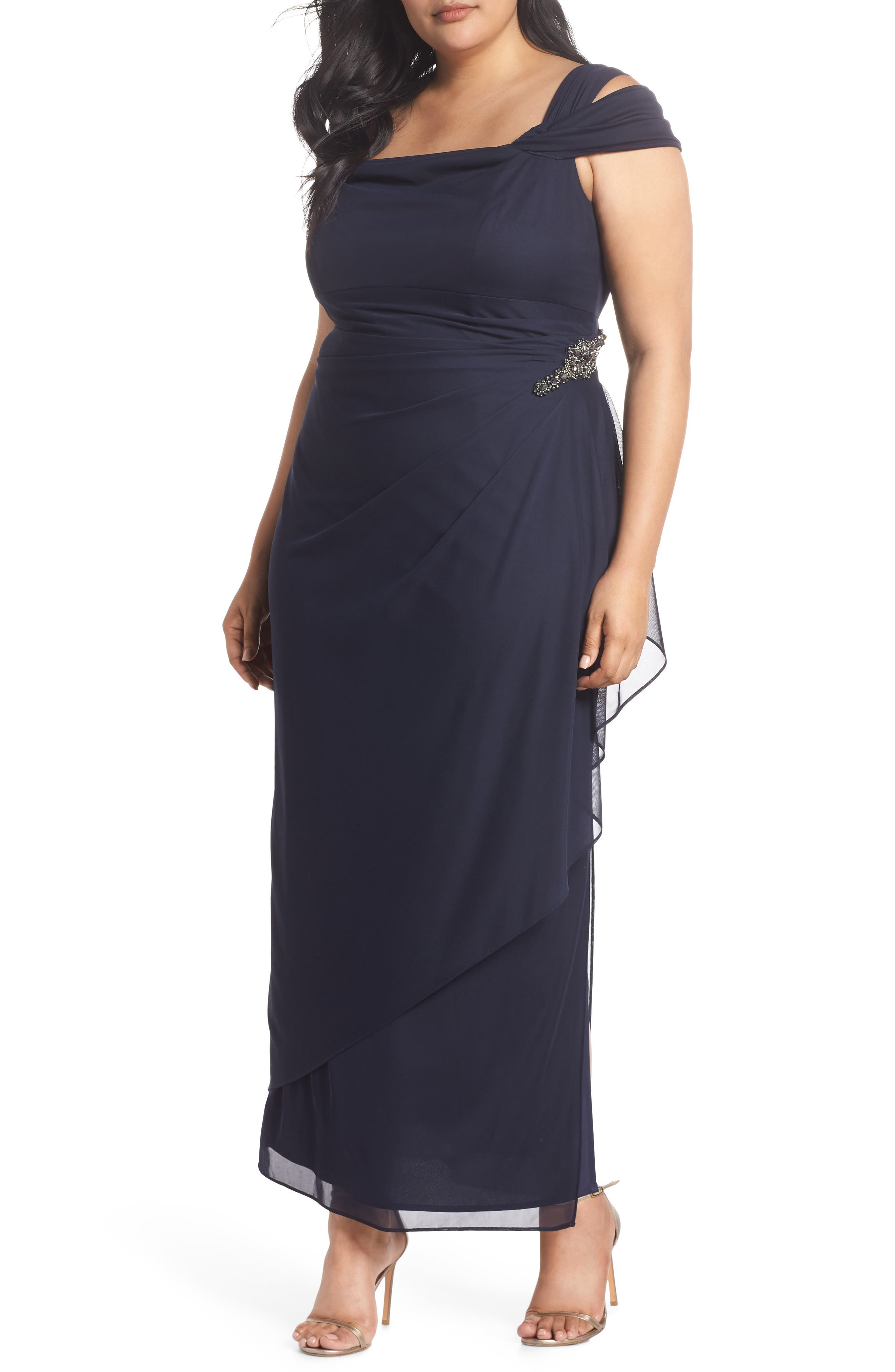 Plus Size Alex Evenings Embellished Cold Shoulder Gown, Blue
