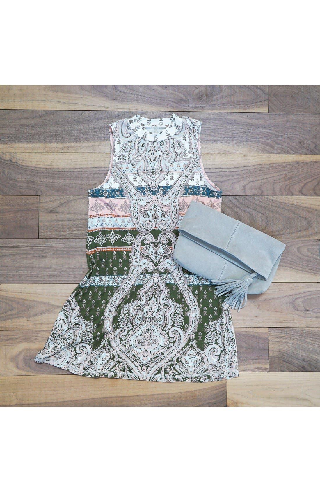 O'NEILL, 'Lucy' Print Mock Neck Knit Shift Dress, Alternate thumbnail 6, color, 001