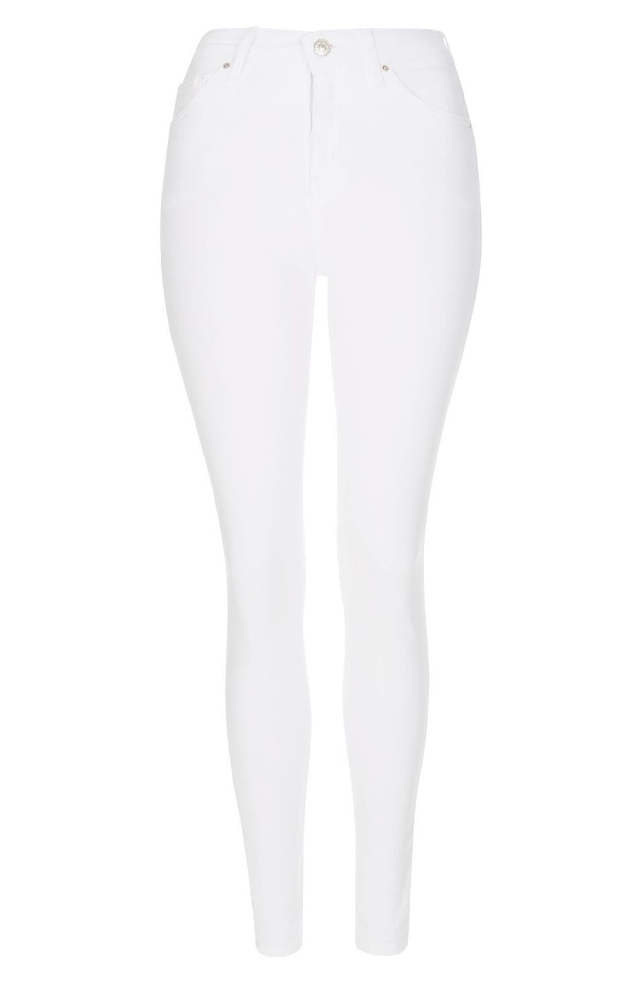 TOPSHOP, Jamie High Waist Ankle Skinny Jeans, Alternate thumbnail 4, color, WHITE