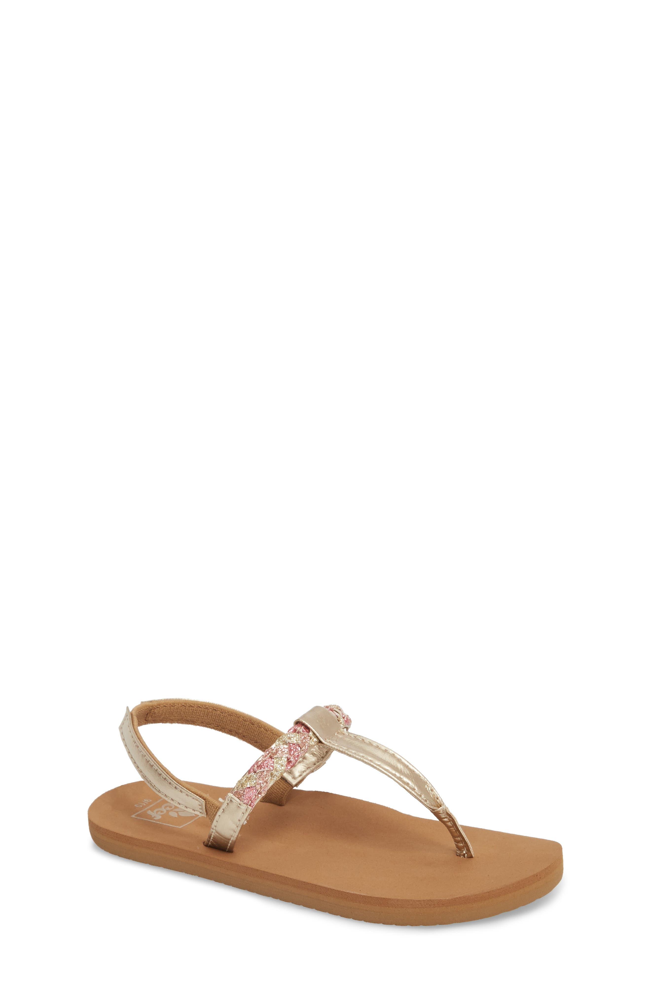 REEF, Little Twisted T-Strap Sandal, Main thumbnail 1, color, TAN