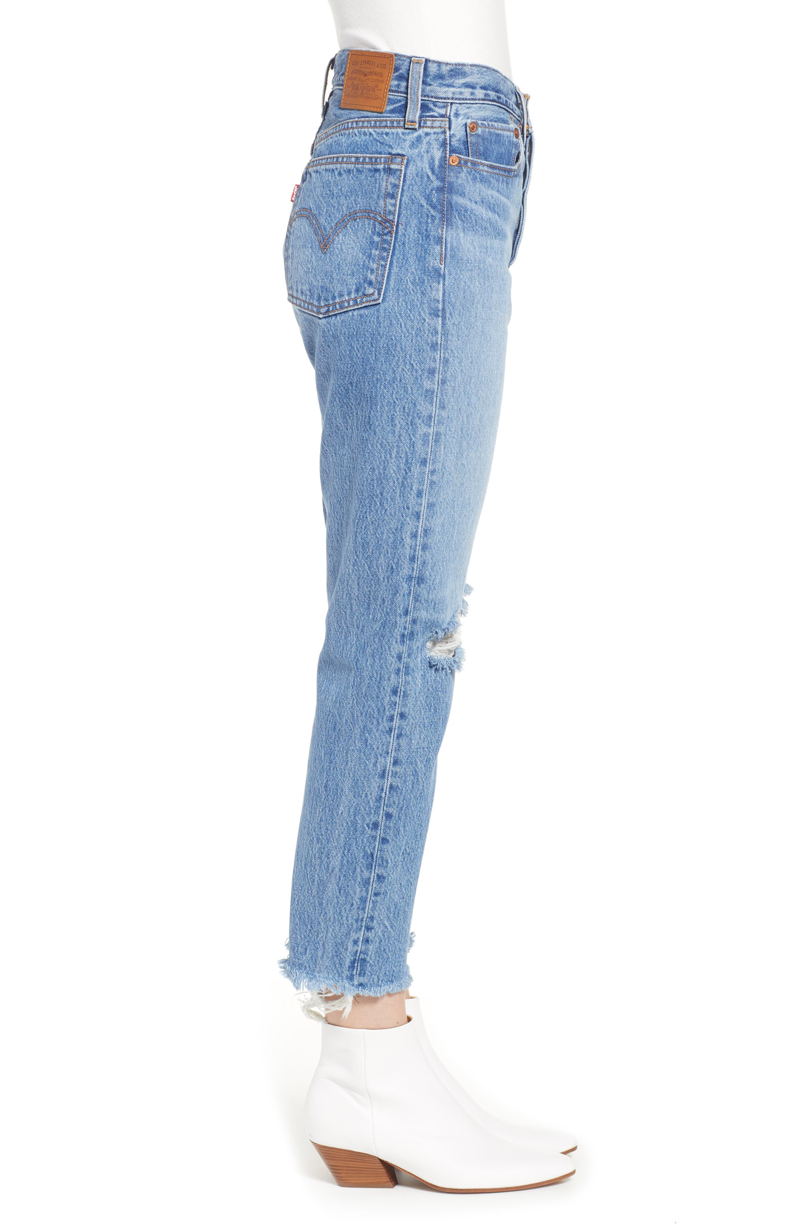 LEVI'S<SUP>®</SUP>, Wedgie High Waist Ripped Crop Straight Leg Jeans, Alternate thumbnail 4, color, UNCOVERED TRUTH