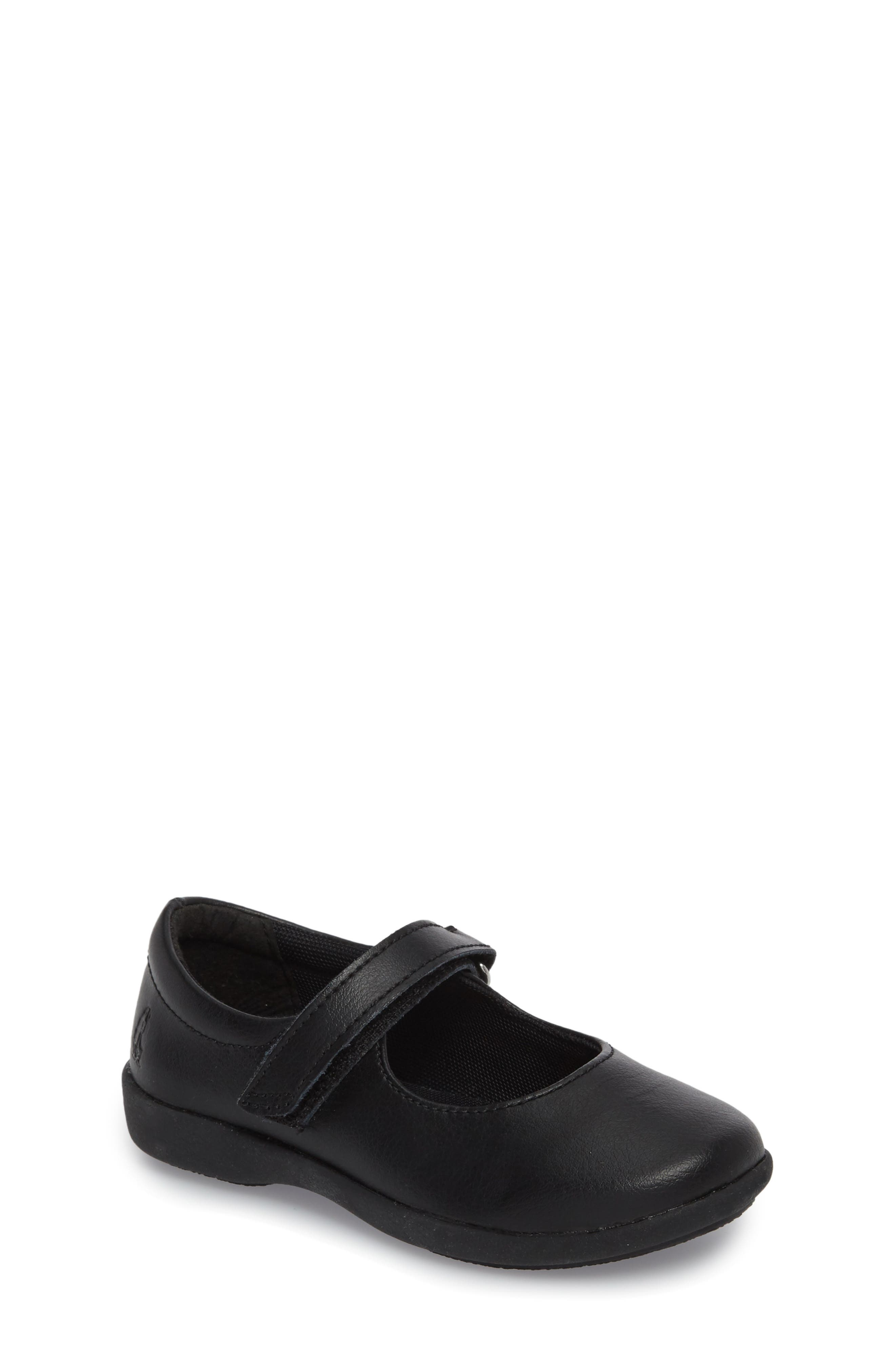 HUSH PUPPIES<SUP>®</SUP>, Lexi Mary Jane Flat, Main thumbnail 1, color, BLACK LEATHER